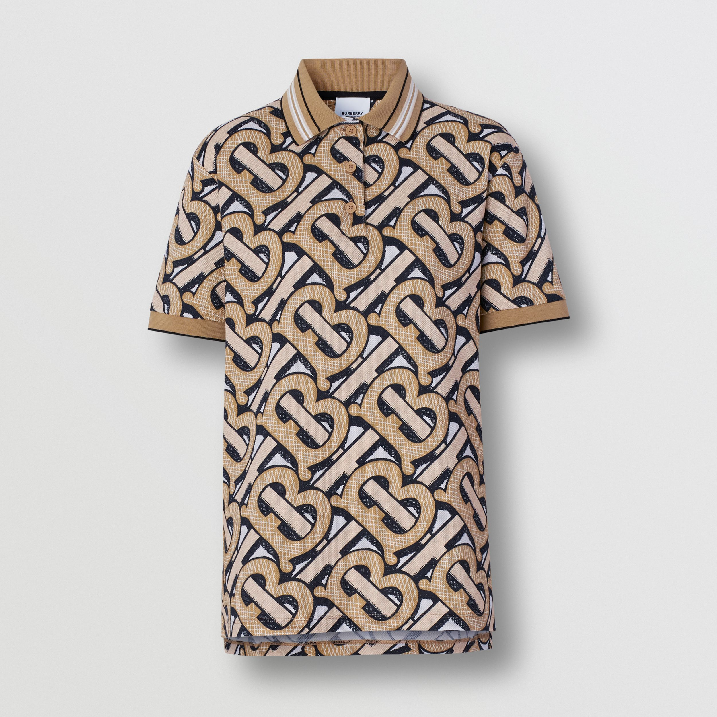 Monogram Print Cotton Piqué Polo Shirt – Unisex in Dark Beige | Burberry - 1