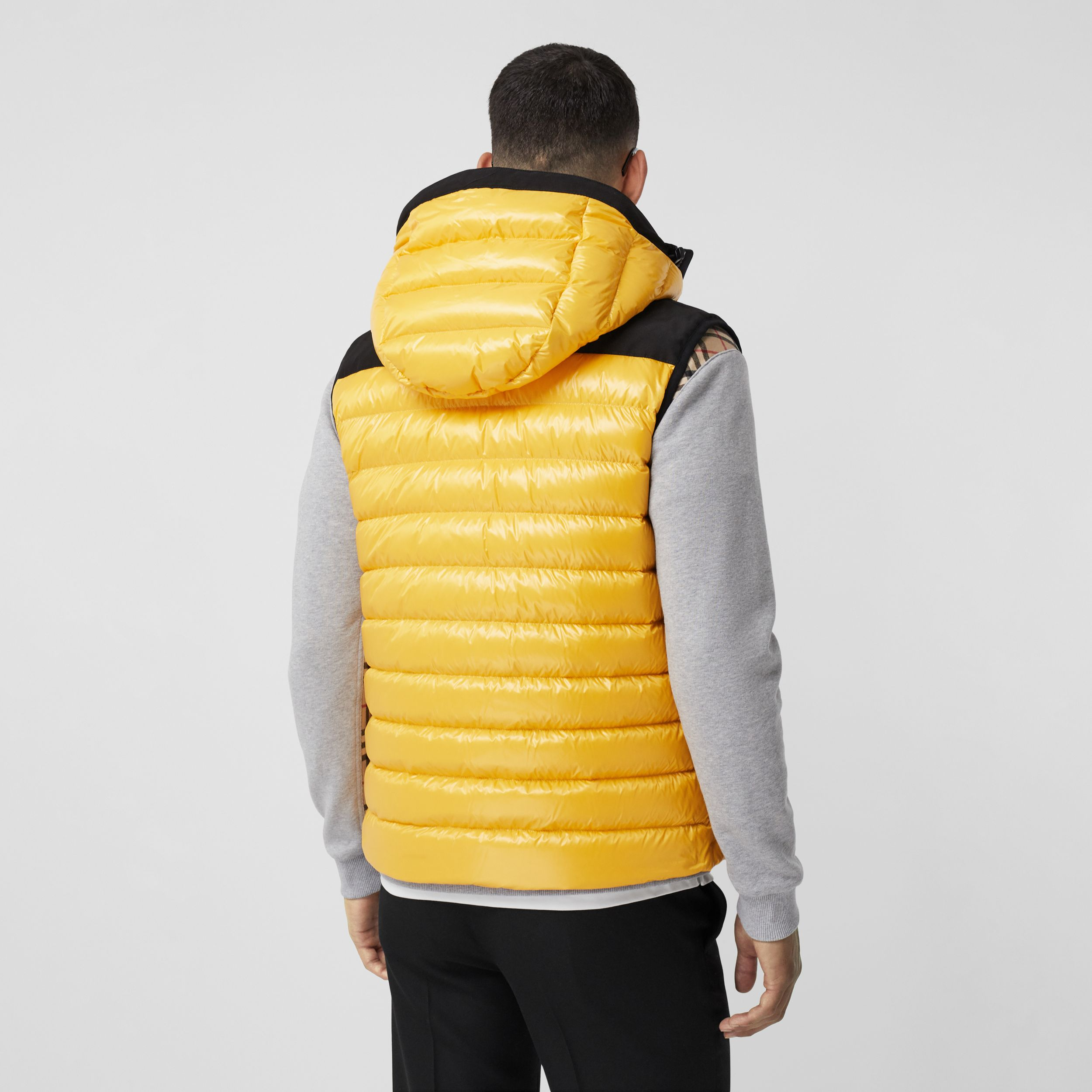Hooded Location Print Puffer Gilet in Bright Yellow - Men | Burberry - 3