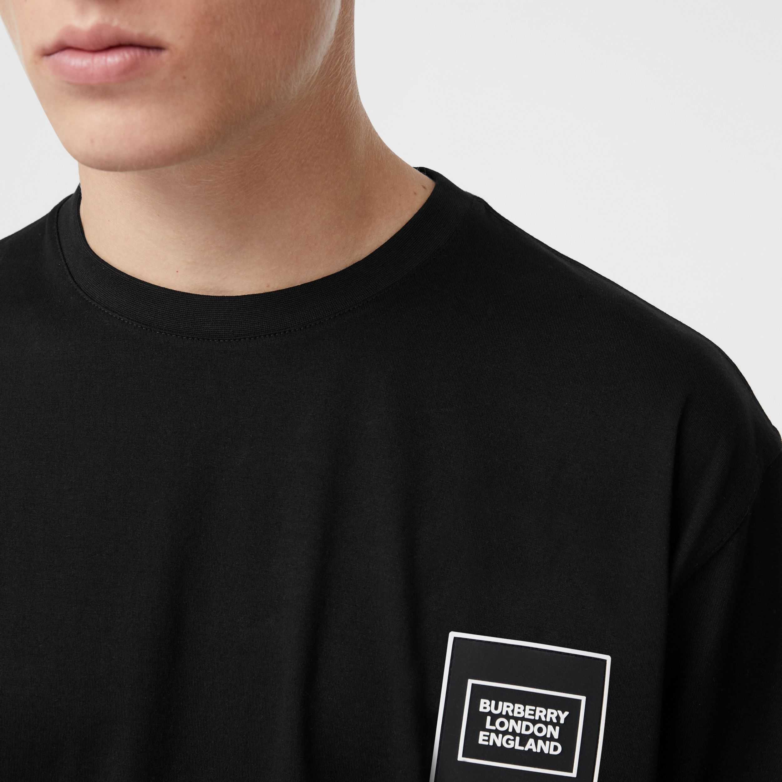 Logo Appliqué Cotton T-shirt in Black - Men | Burberry - 2