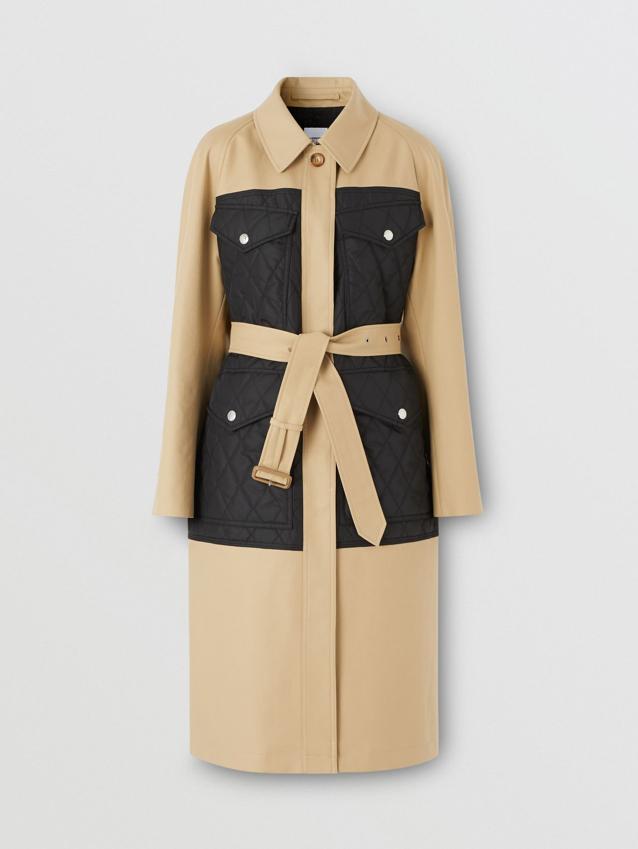 Diamond Quilted Panel Cotton Gabardine Car Coat in Honey