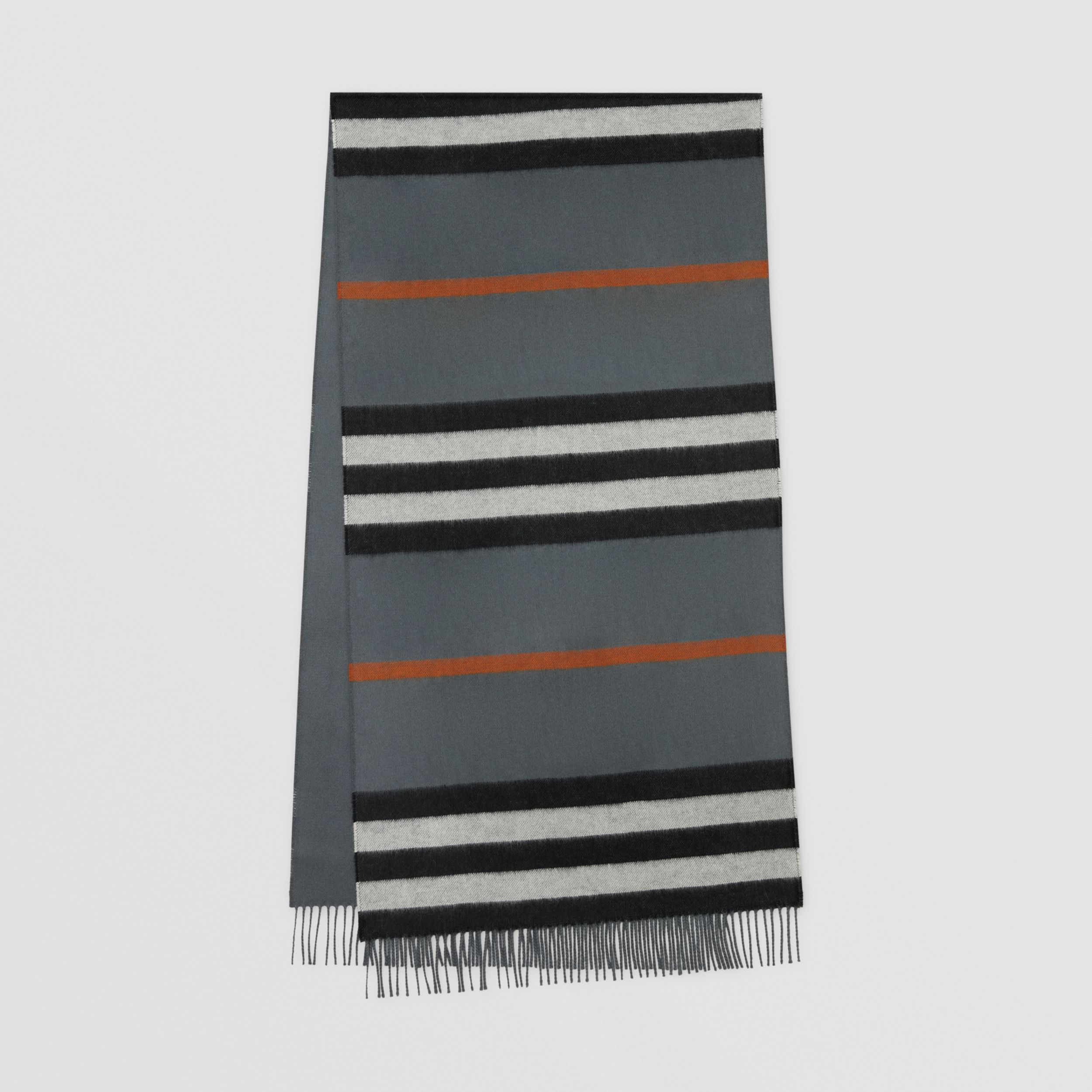 Icon Stripe Cashmere Jacquard Scarf in Mid Grey | Burberry United Kingdom - 1