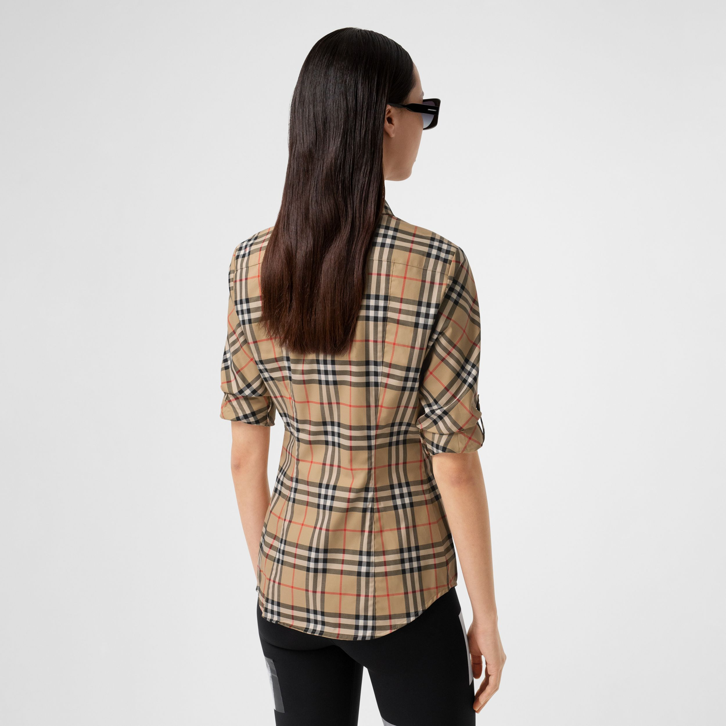 Vintage Check Stretch Cotton Twill Shirt in Archive Beige - Women | Burberry United States - 3