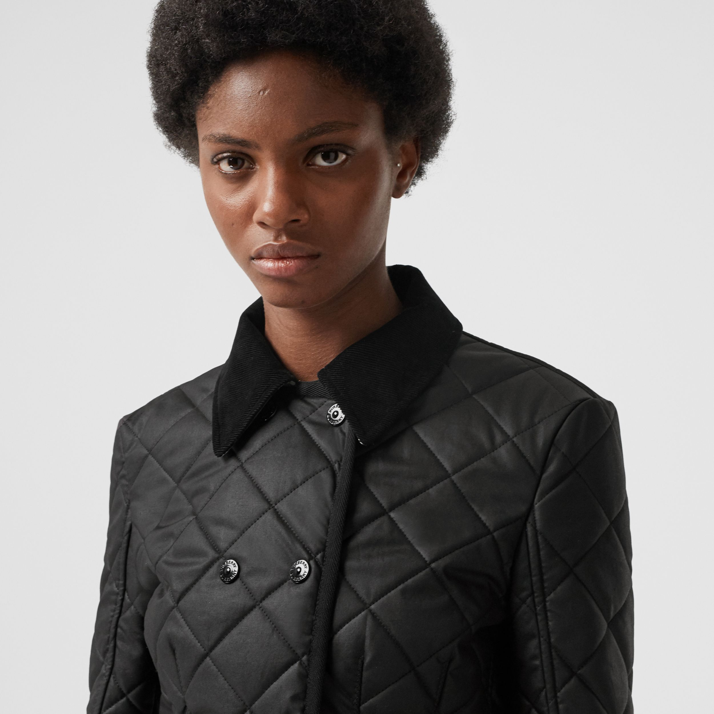Diamond Quilted Waxed Cotton Riding Jacket in Black - Women | Burberry - 2