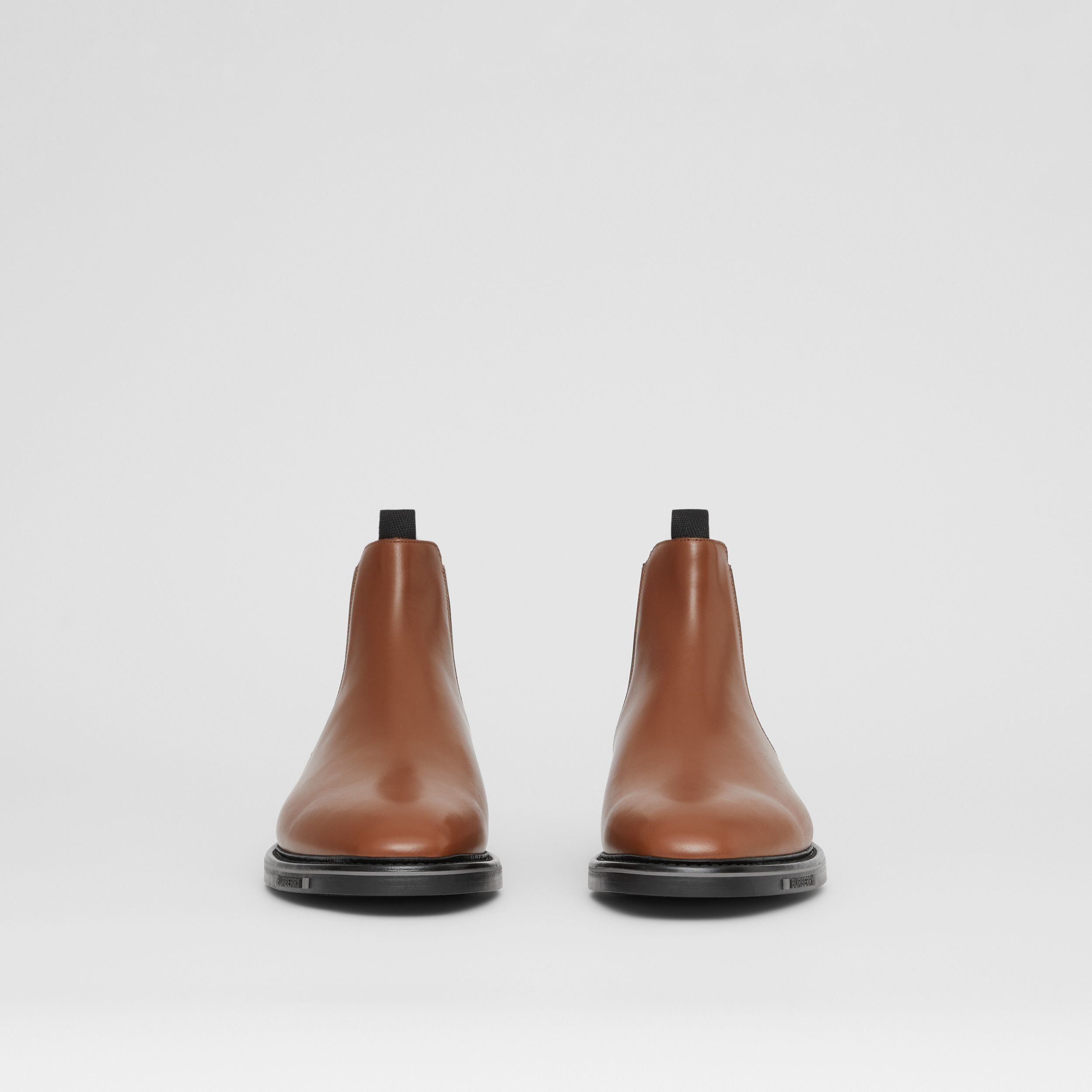 Logo Detail Leather Chelsea Boots in Tan - Men | Burberry - 4