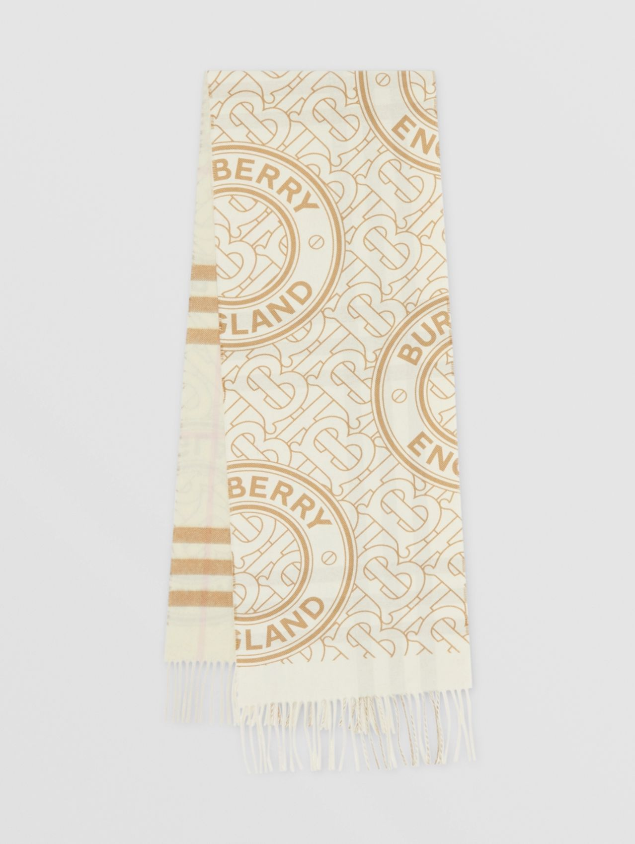Reversible Check and Monogram Cashmere Scarf in White