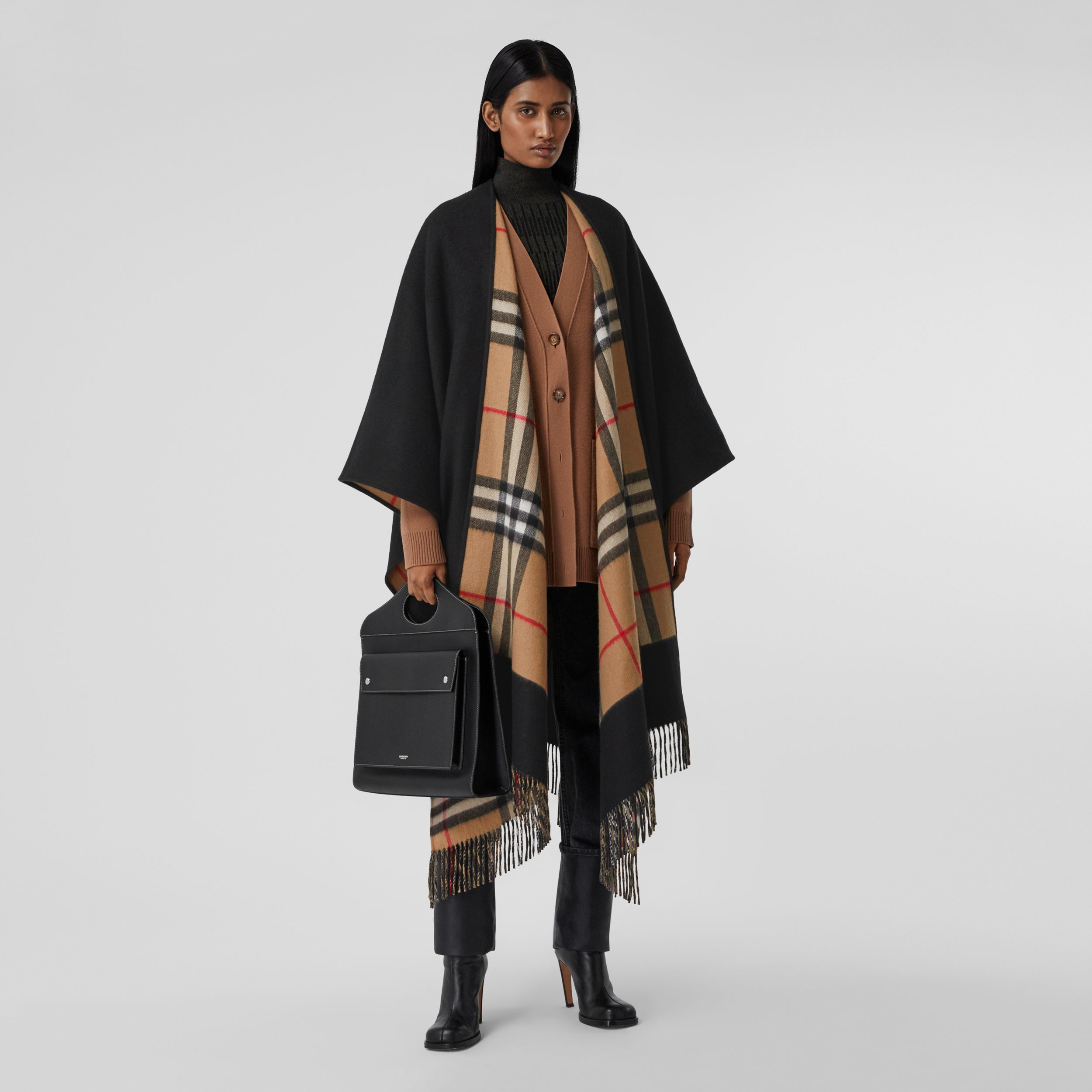 Check-lined Cashmere Merino Wool Cape in Black - Women | Burberry United Kingdom - 1