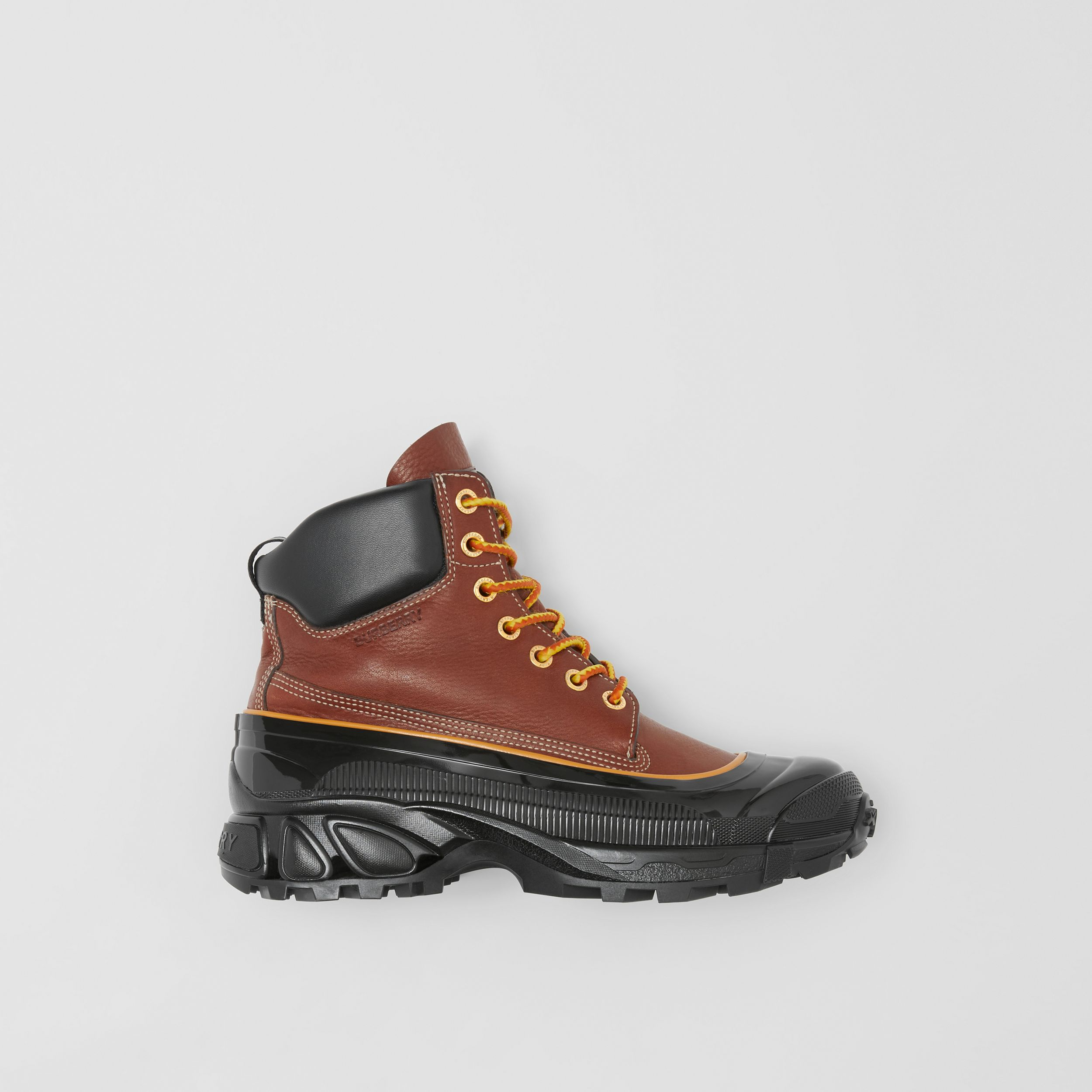 Contrast Sole Leather Boots in Tan - Men | Burberry - 1