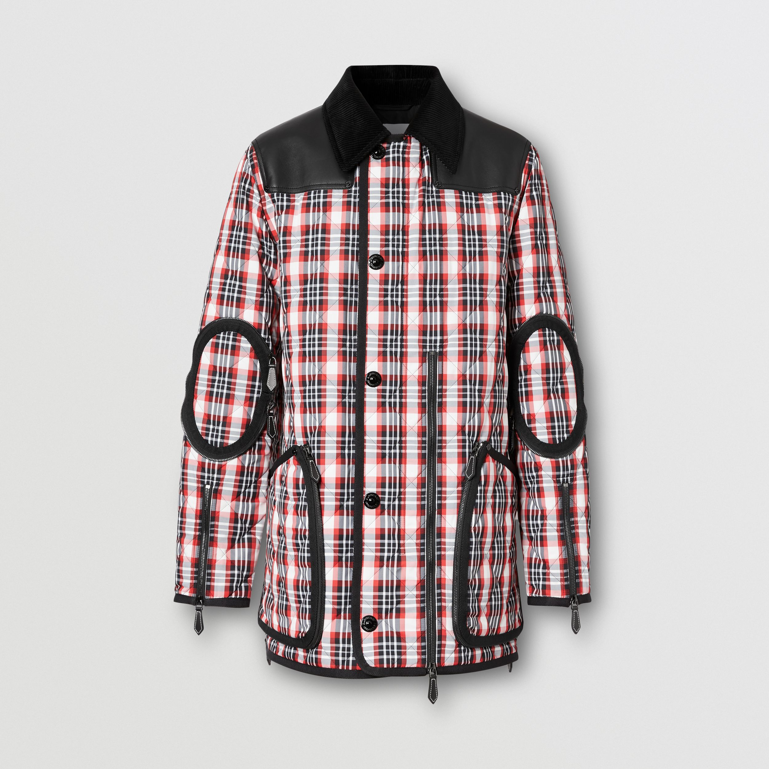 Lambskin Panel Diamond Quilted Tartan Barn Jacket in Bright Red | Burberry Australia - 4