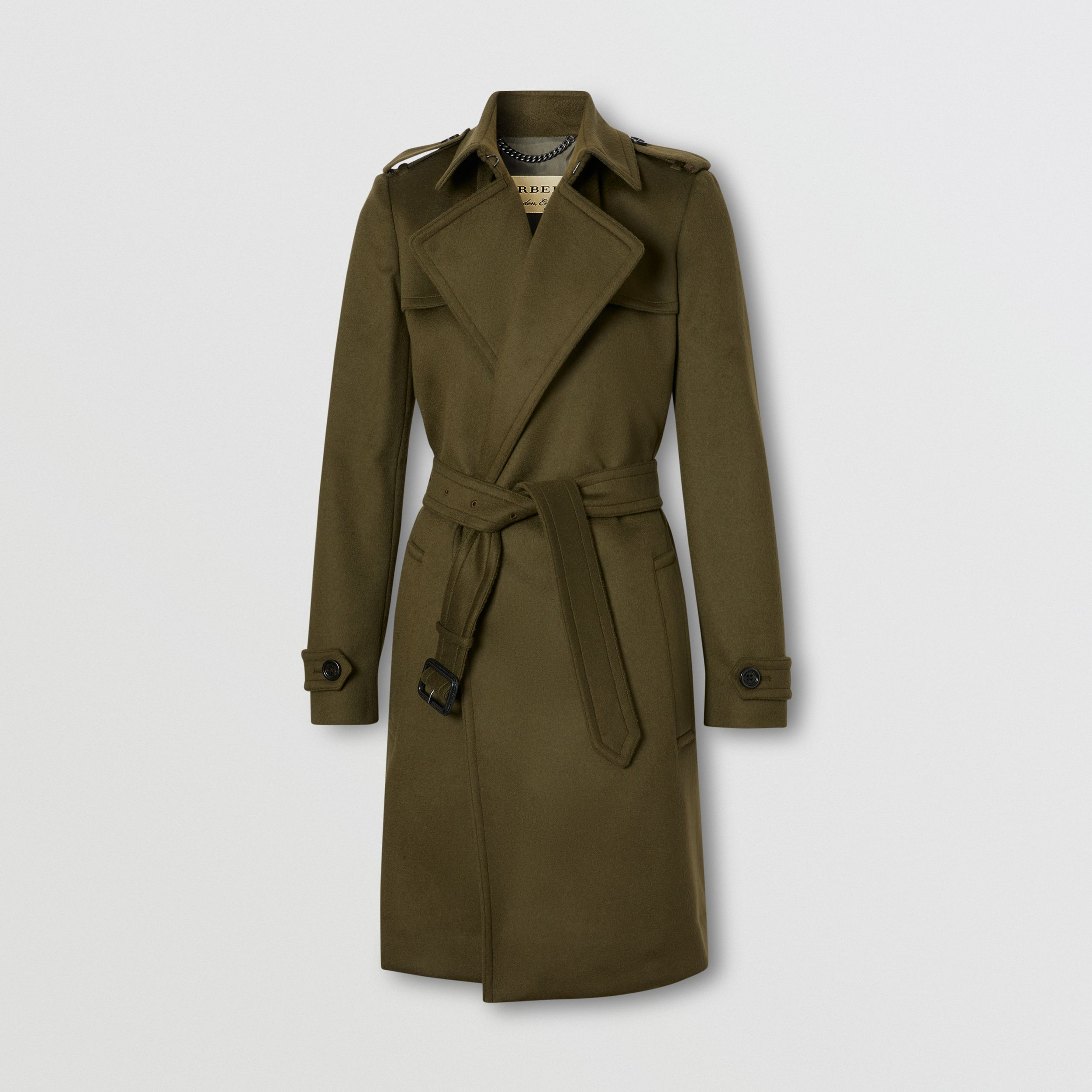 Wool Cashmere Wrap Coat in Dark Olive - Women | Burberry - 1