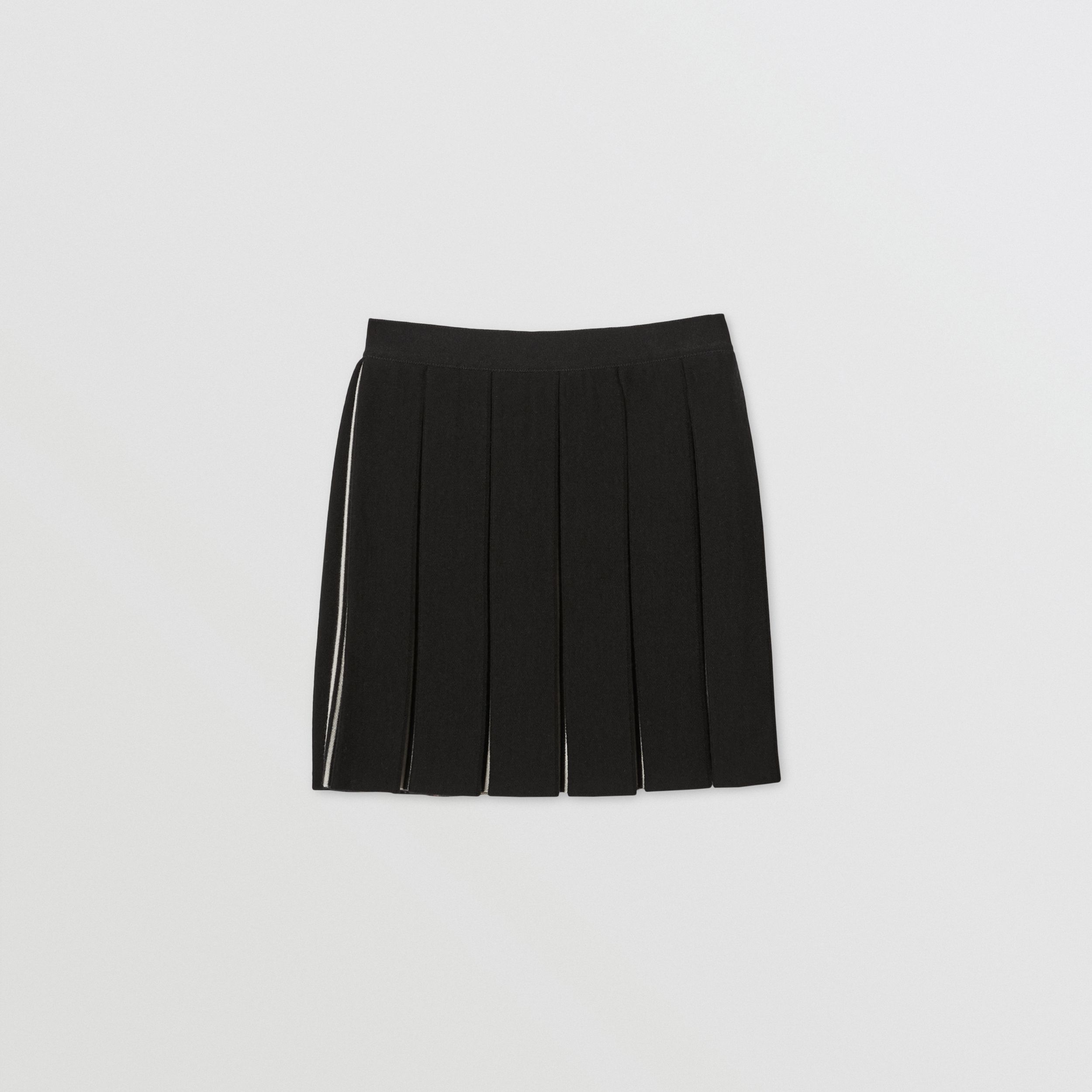 Icon Stripe Detail Wool Blend Pleated Skirt in Black | Burberry - 1