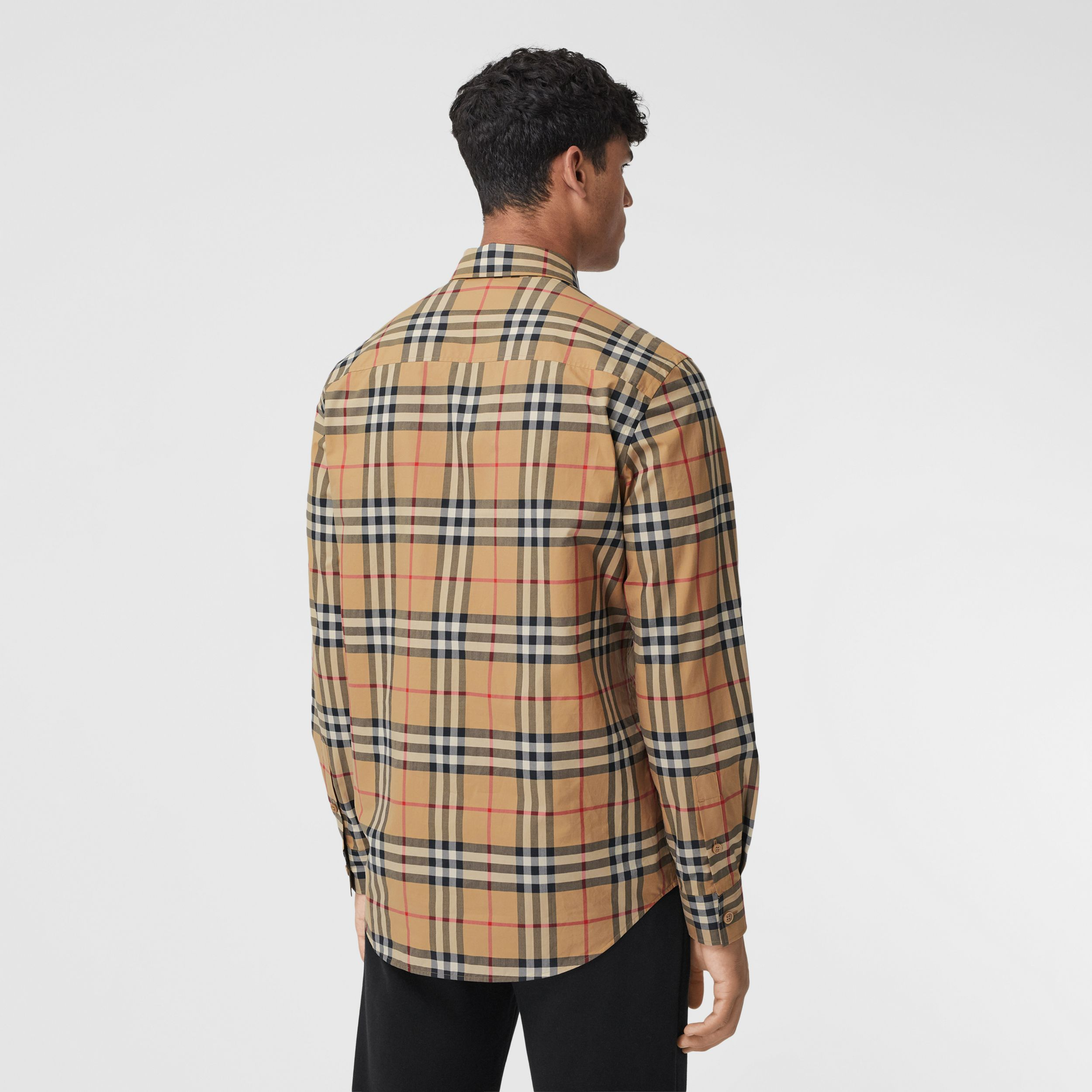 Classic Fit Zebra Appliqué Check Cotton Shirt in Archive Beige - Men | Burberry - 3