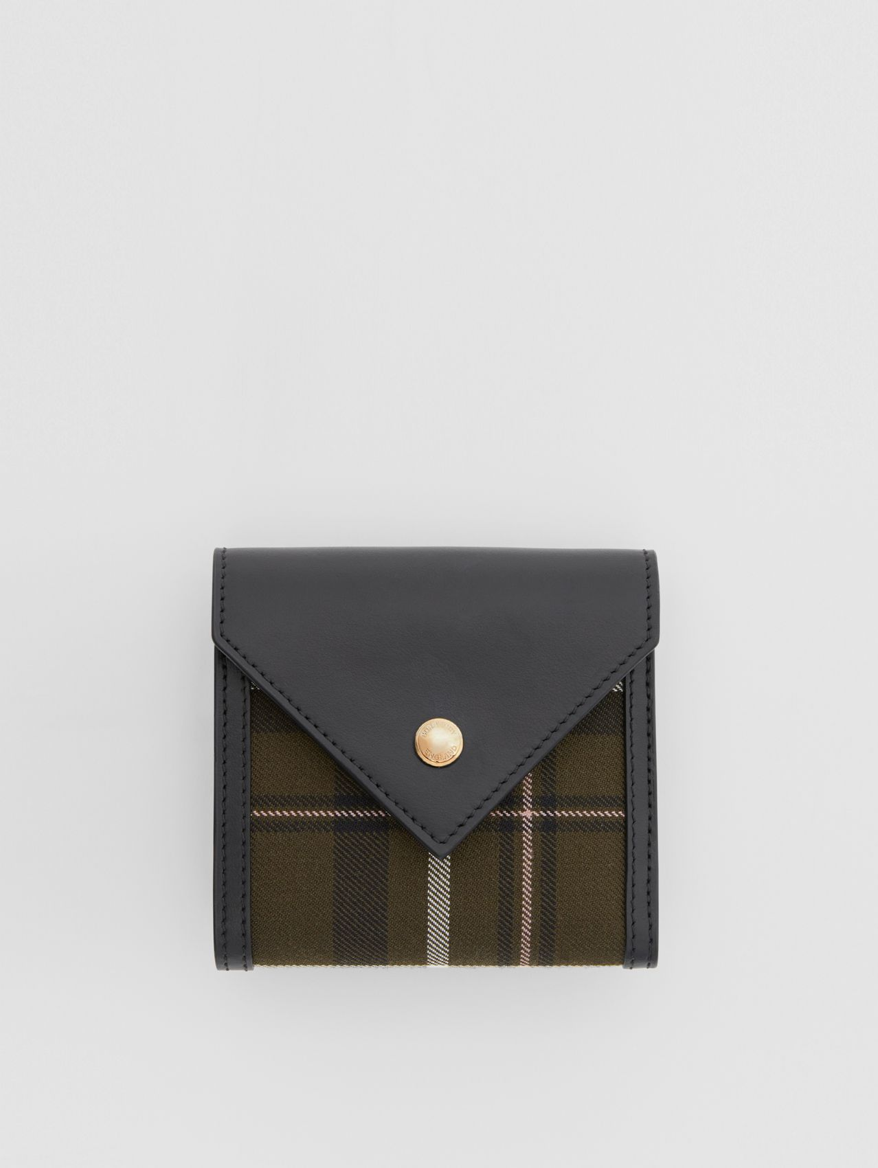 Tartan Wool and Leather Folding Wallet in Dark Green