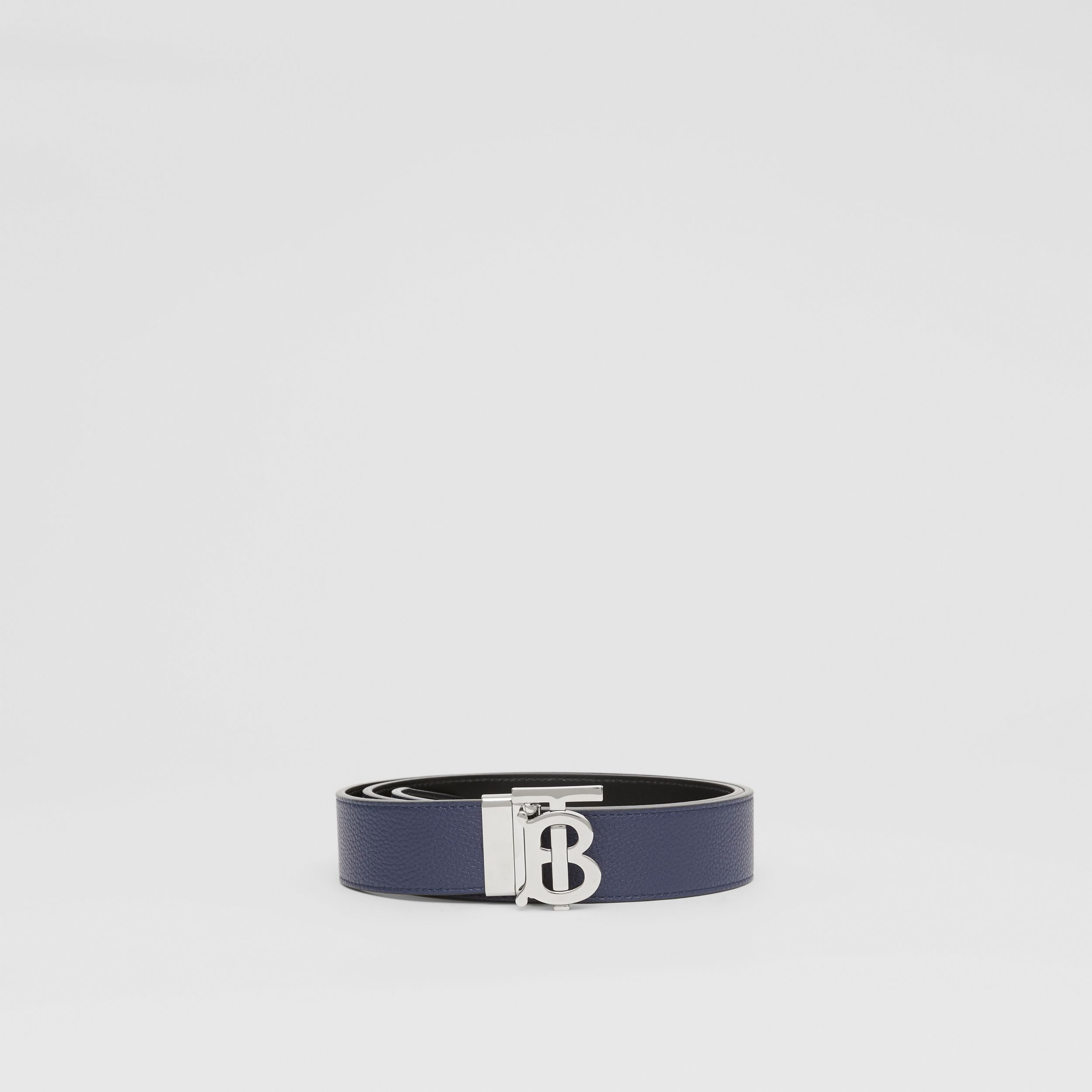 Reversible Monogram Motif Leather Belt in Navy/black - Men | Burberry Australia - 4