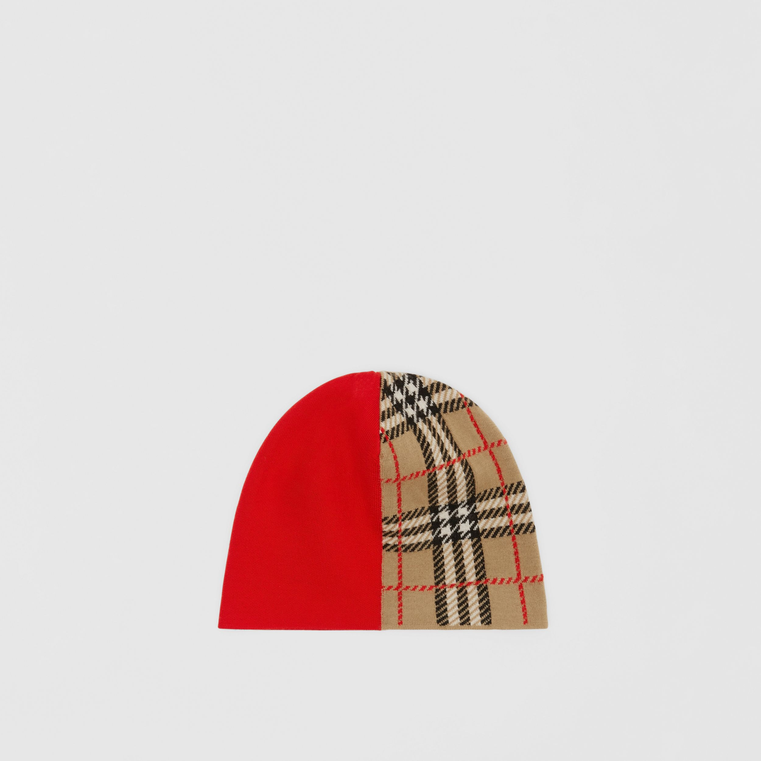 Colour Block Check Merino Wool Jacquard Beanie in Bright Red - Children | Burberry - 4
