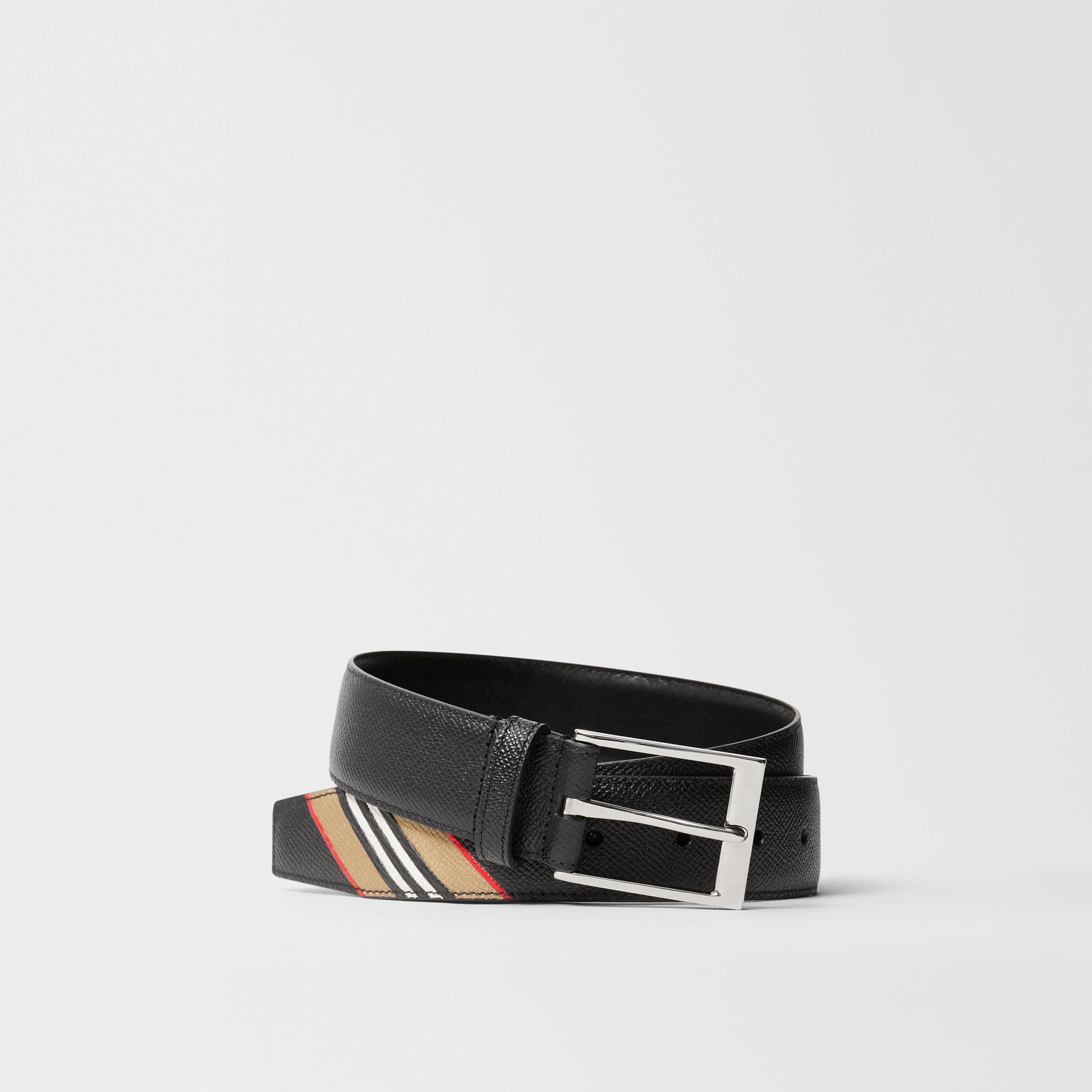 Icon Stripe Print Grainy Leather Belt in Black - Men | Burberry - 1