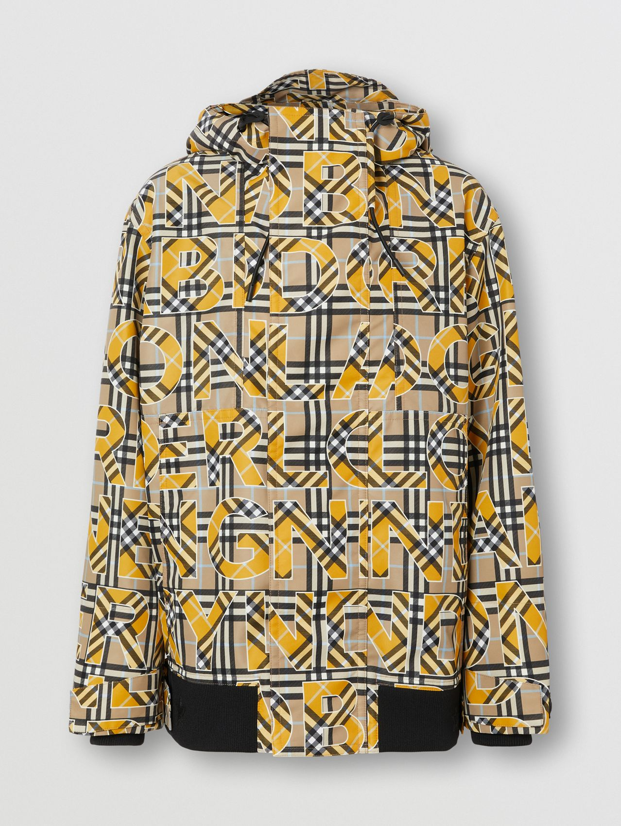 Logo and Vintage Check Print Hooded Jacket in Vivid Ochre