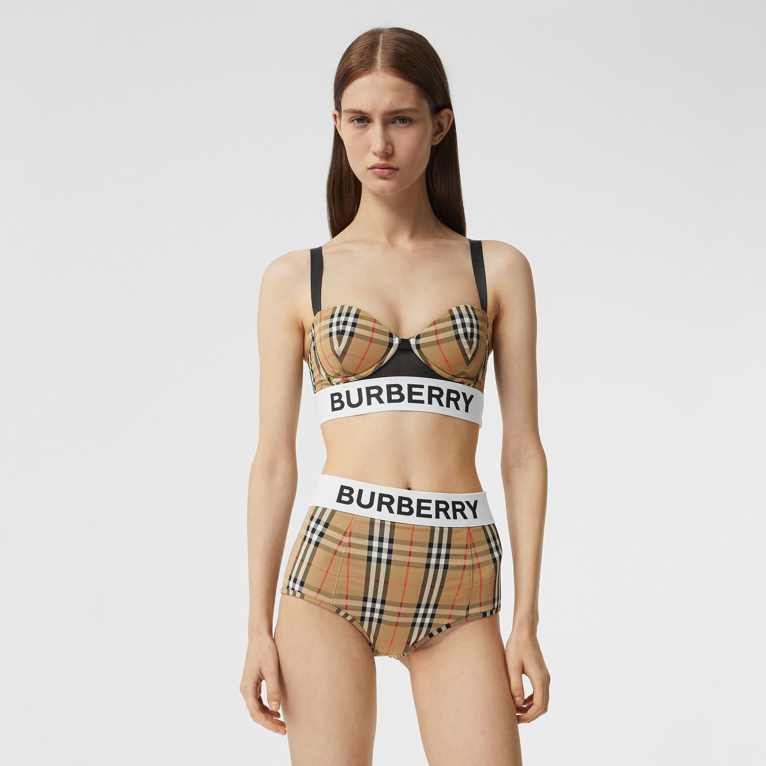 Logo Tape Vintage Check Bikini Top in Archive Beige - Women | Burberry Canada - 1