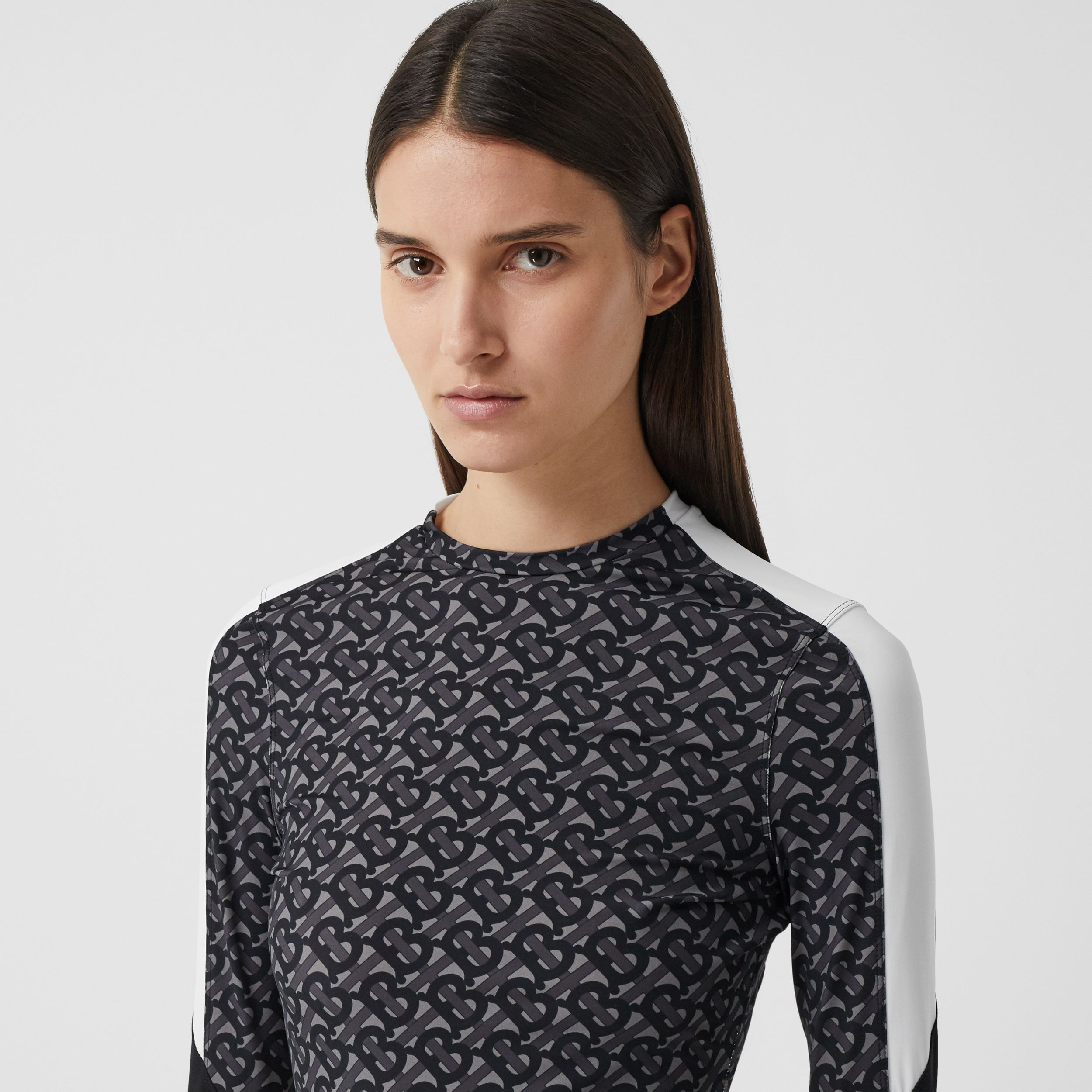 Colour Block Monogram Print Stretch Jersey Top in Graphite - Women | Burberry - 2
