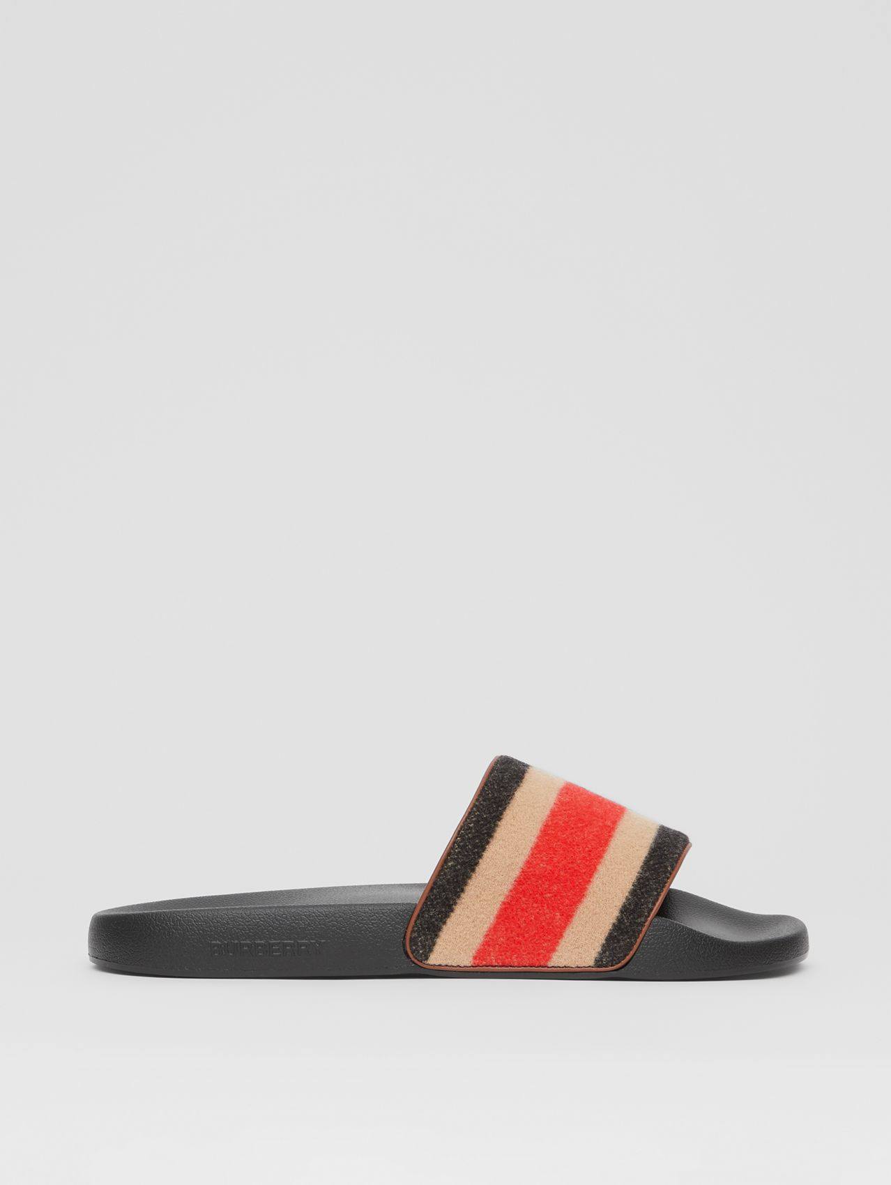 Striped Wool and Leather Slides in Light Camel
