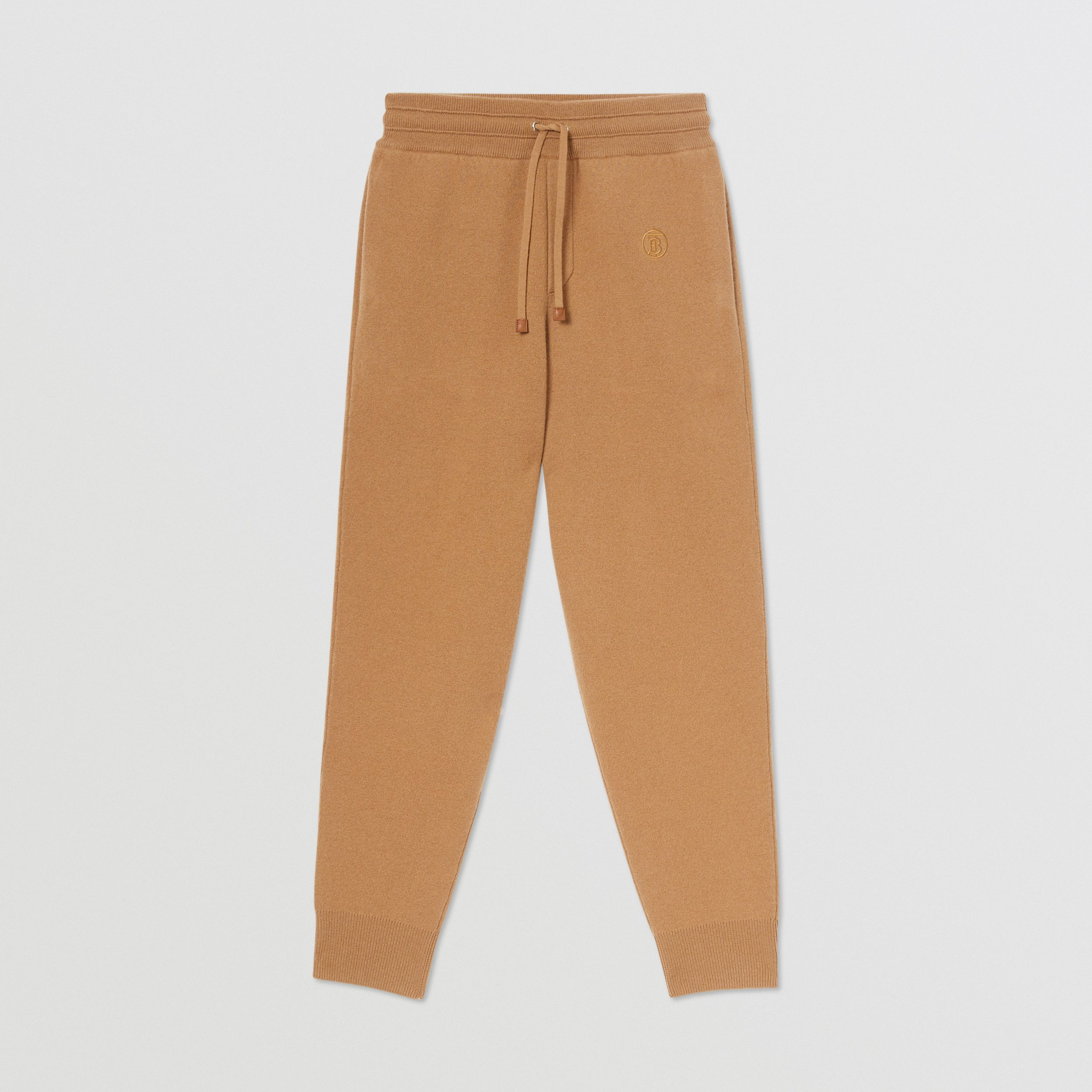Monogram Motif Cashmere Blend Jogging Pants in Camel - Women | Burberry - 4
