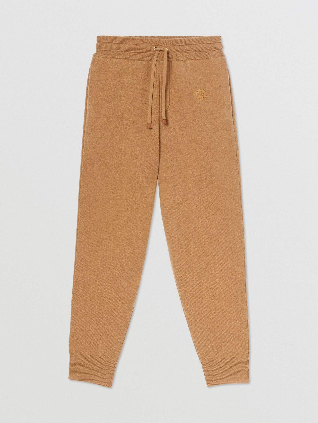 Monogram Motif Cashmere Blend Jogging Pants in Camel