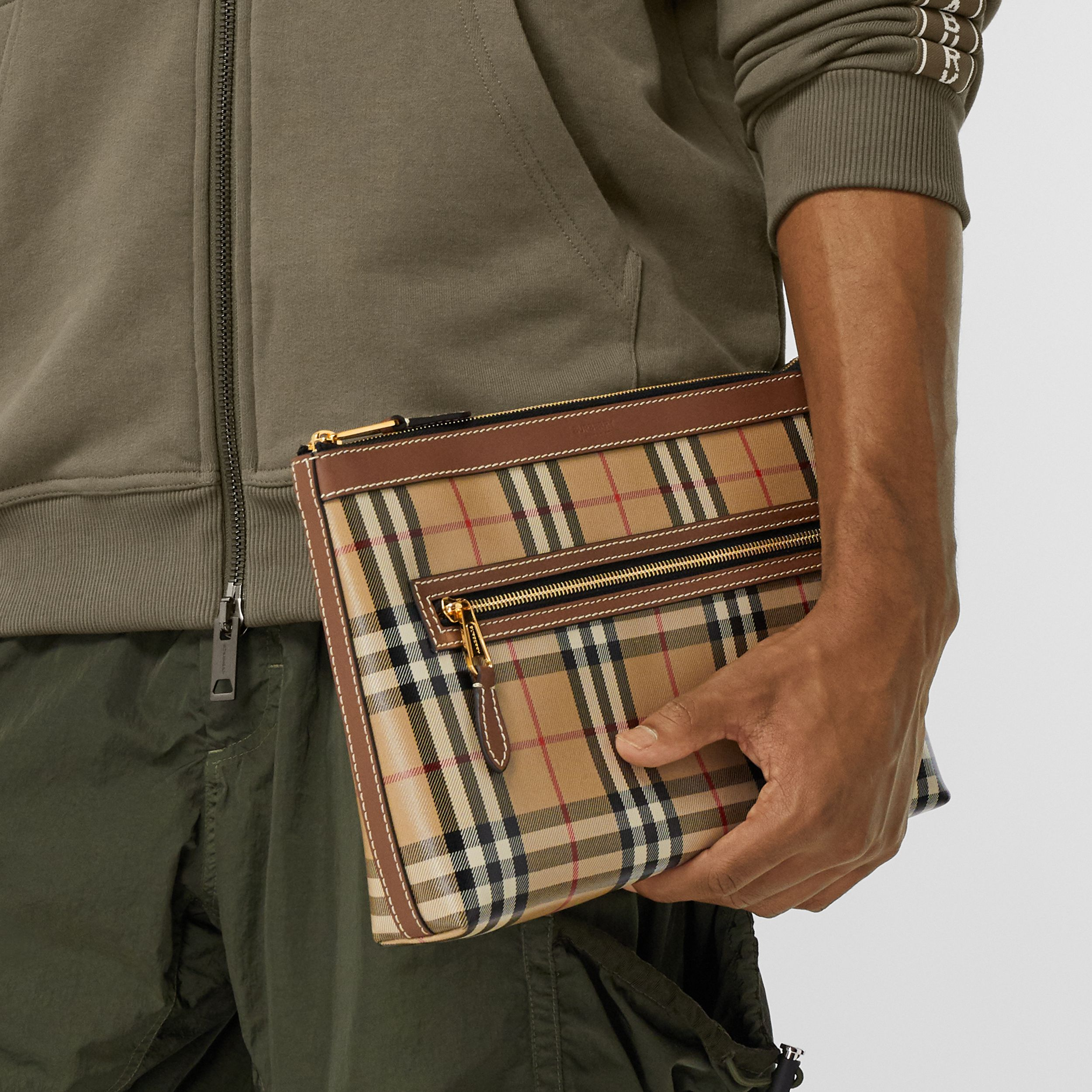 Vintage Check Coated Canvas Zip Pouch in Archive Beige - Men | Burberry Canada - 4