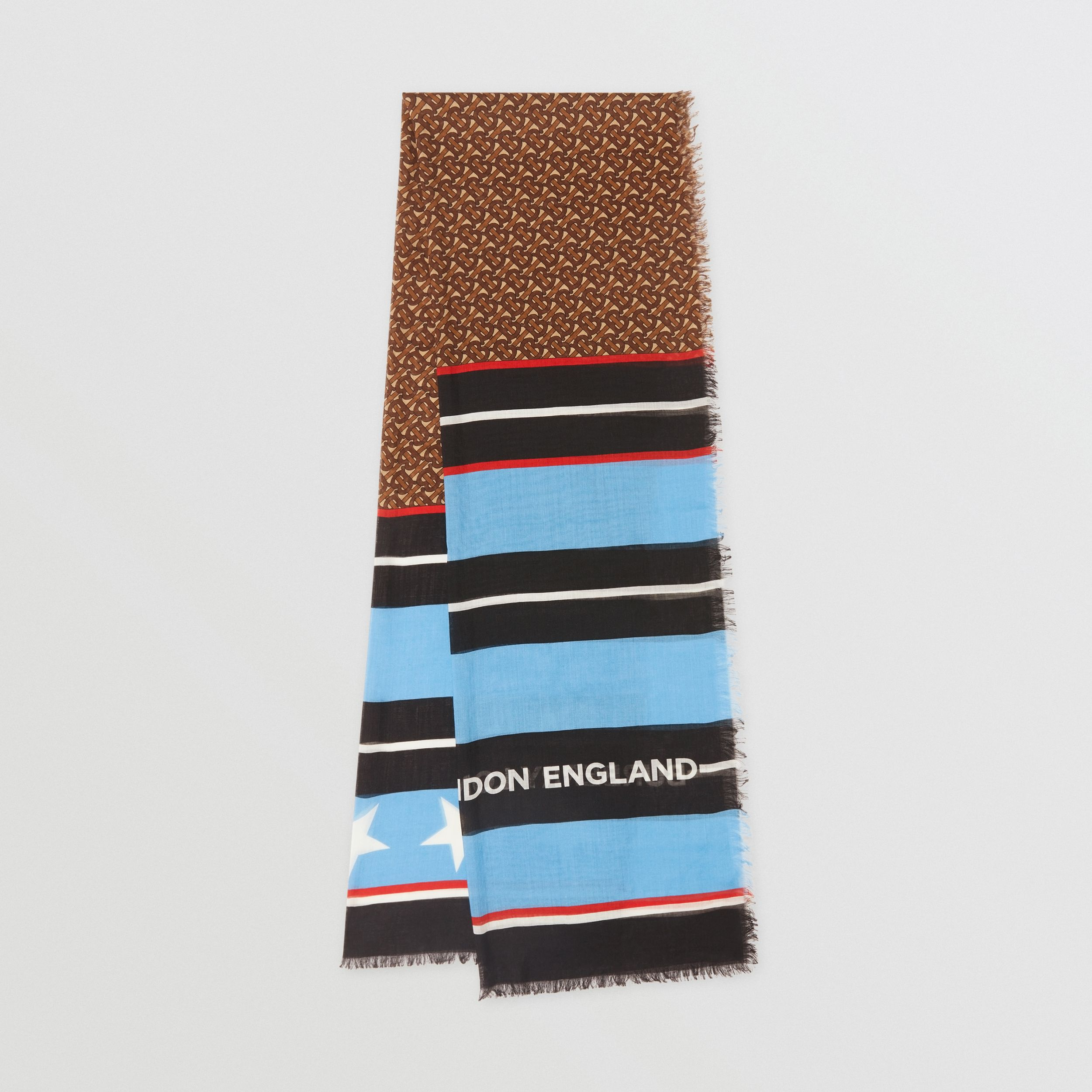 Monogram and Stripe Print Silk Wool Scarf in Blue Topaz/bridle Brown | Burberry - 1