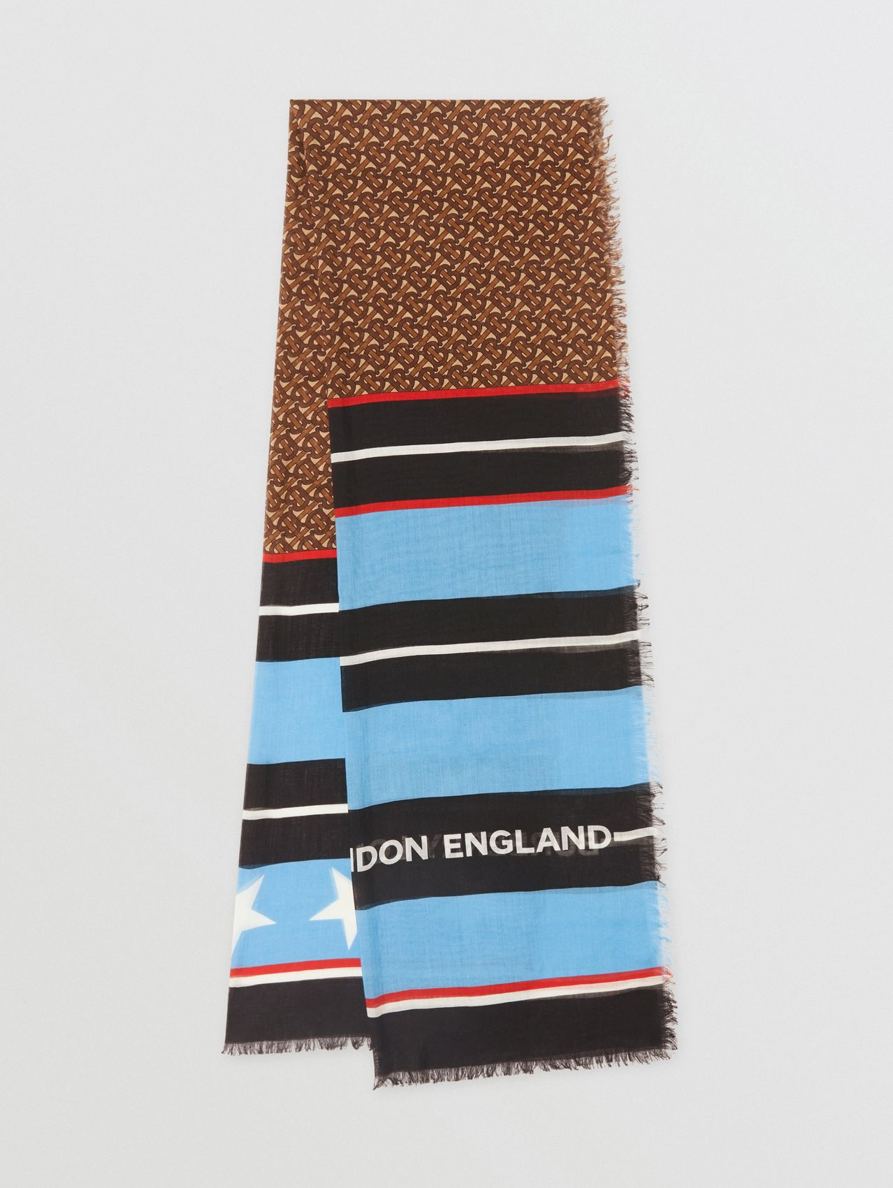 Monogram and Stripe Print Silk Wool Scarf in Blue Topaz/bridle Brown