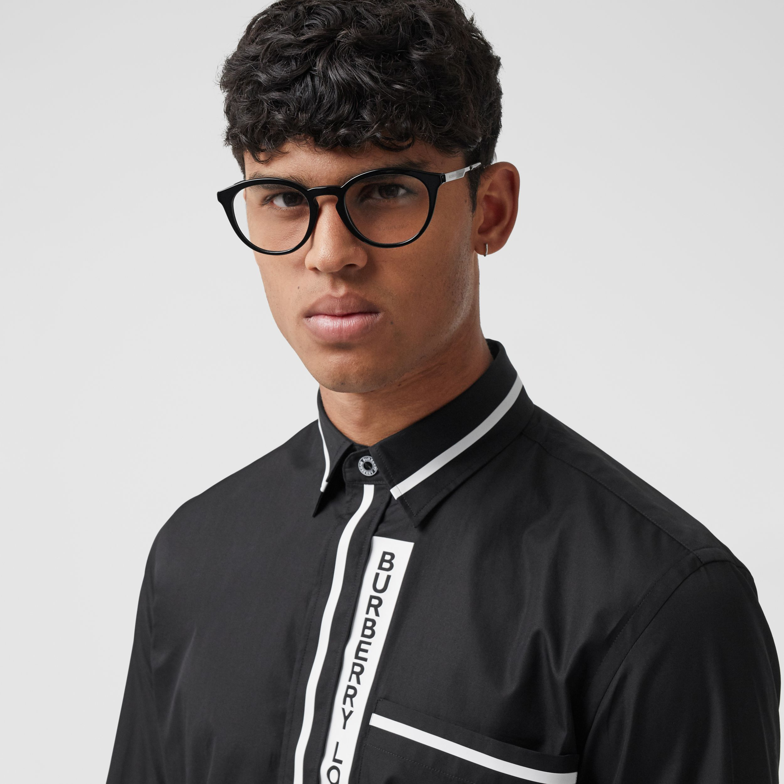 Logo Appliqué Cotton Poplin Shirt in Black - Men | Burberry - 2