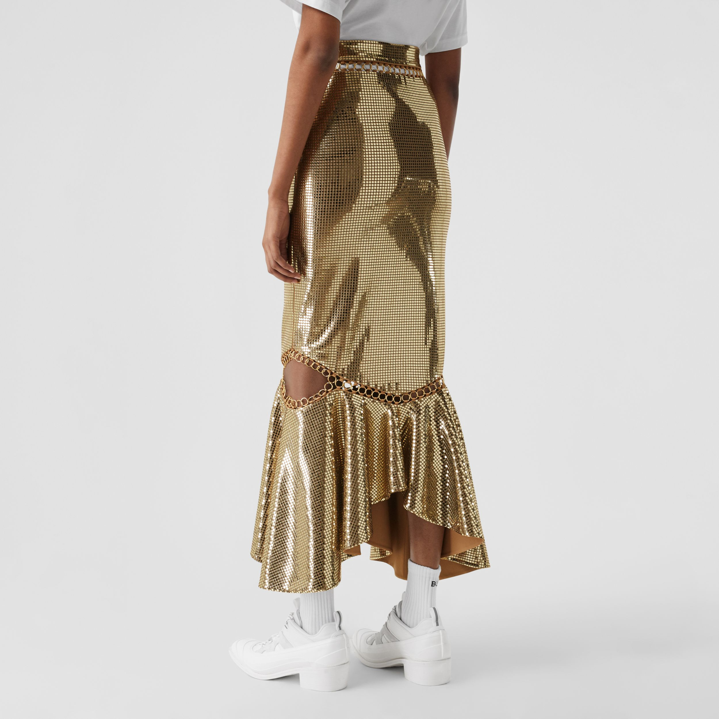 Ring-pierced Mirrored Jersey Skirt in Dark Biscuit - Women | Burberry - 3