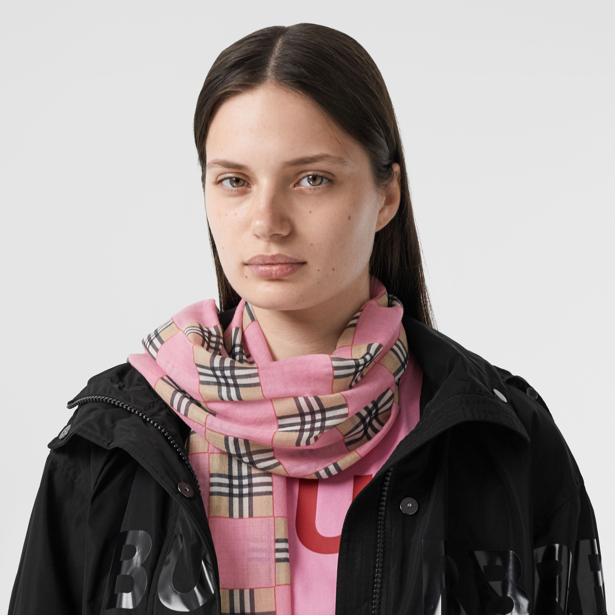 Chequer Print Wool Silk Scarf in Pink | Burberry Australia - 3