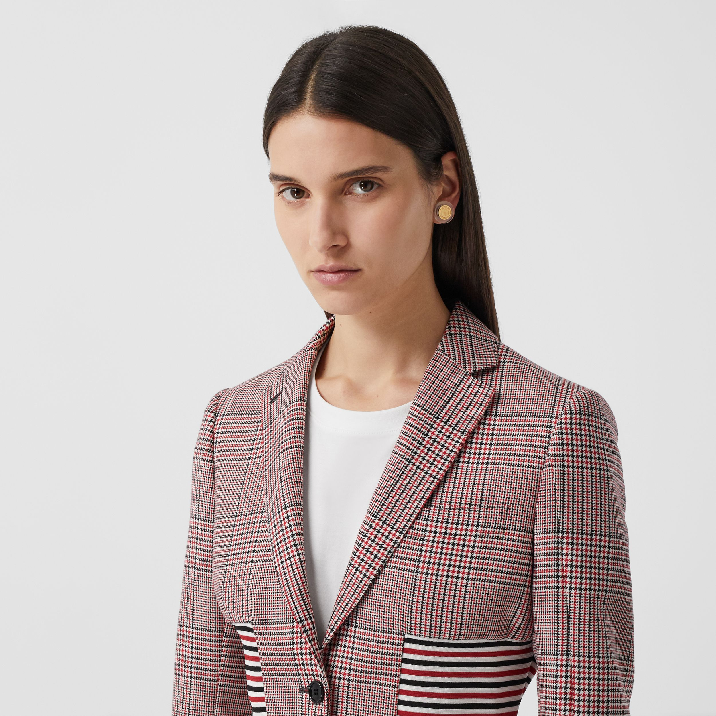 Knitted Panel Houndstooth Check Wool Jacket in Bright Red - Women | Burberry United Kingdom - 2