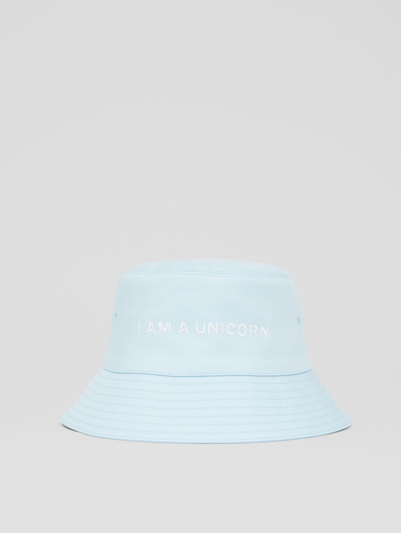 Zebra Appliqué Cotton Twill Bucket Hat in Pale Blue