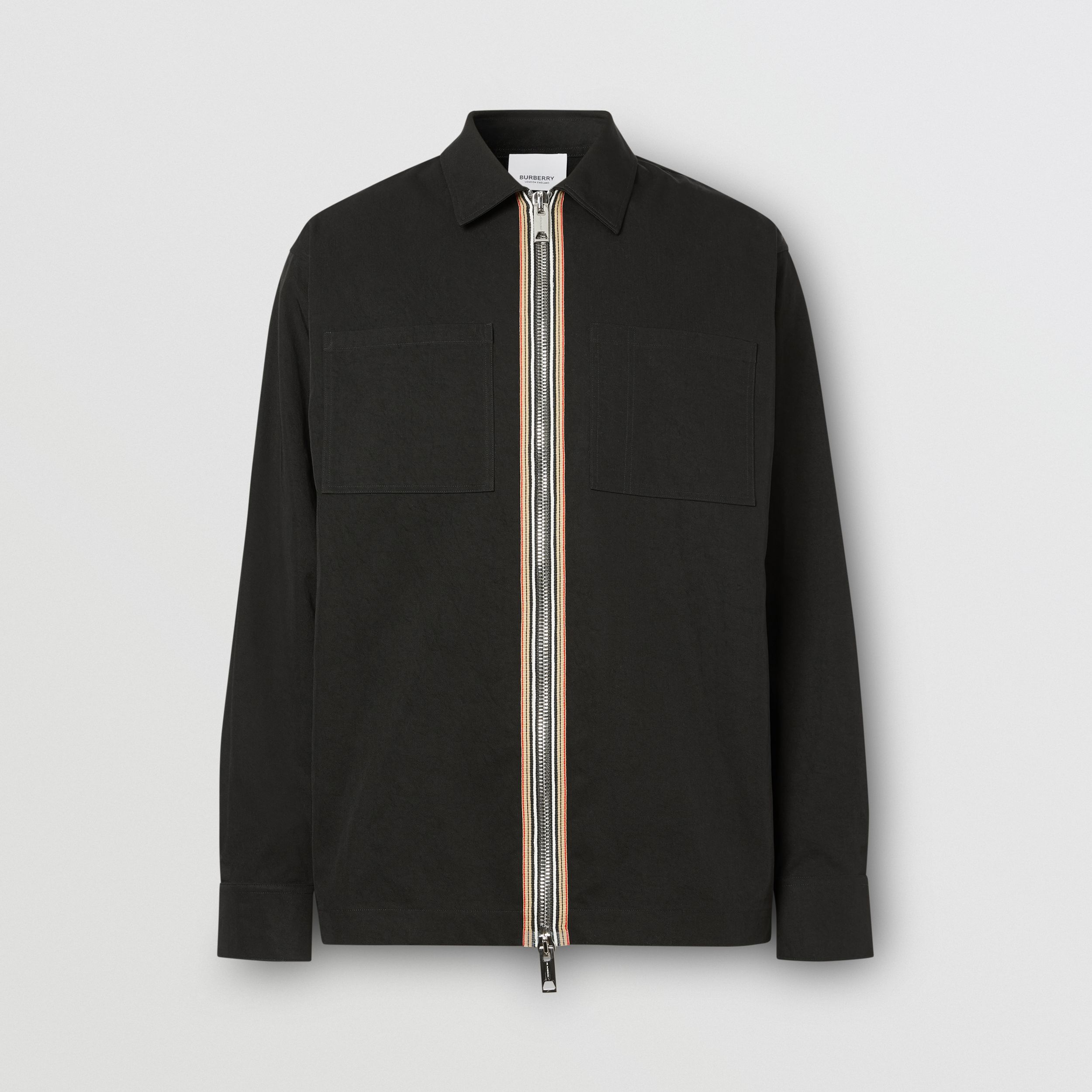 Stripe Detail Technical Twill Zip-front Shirt in Black - Men | Burberry Australia - 4