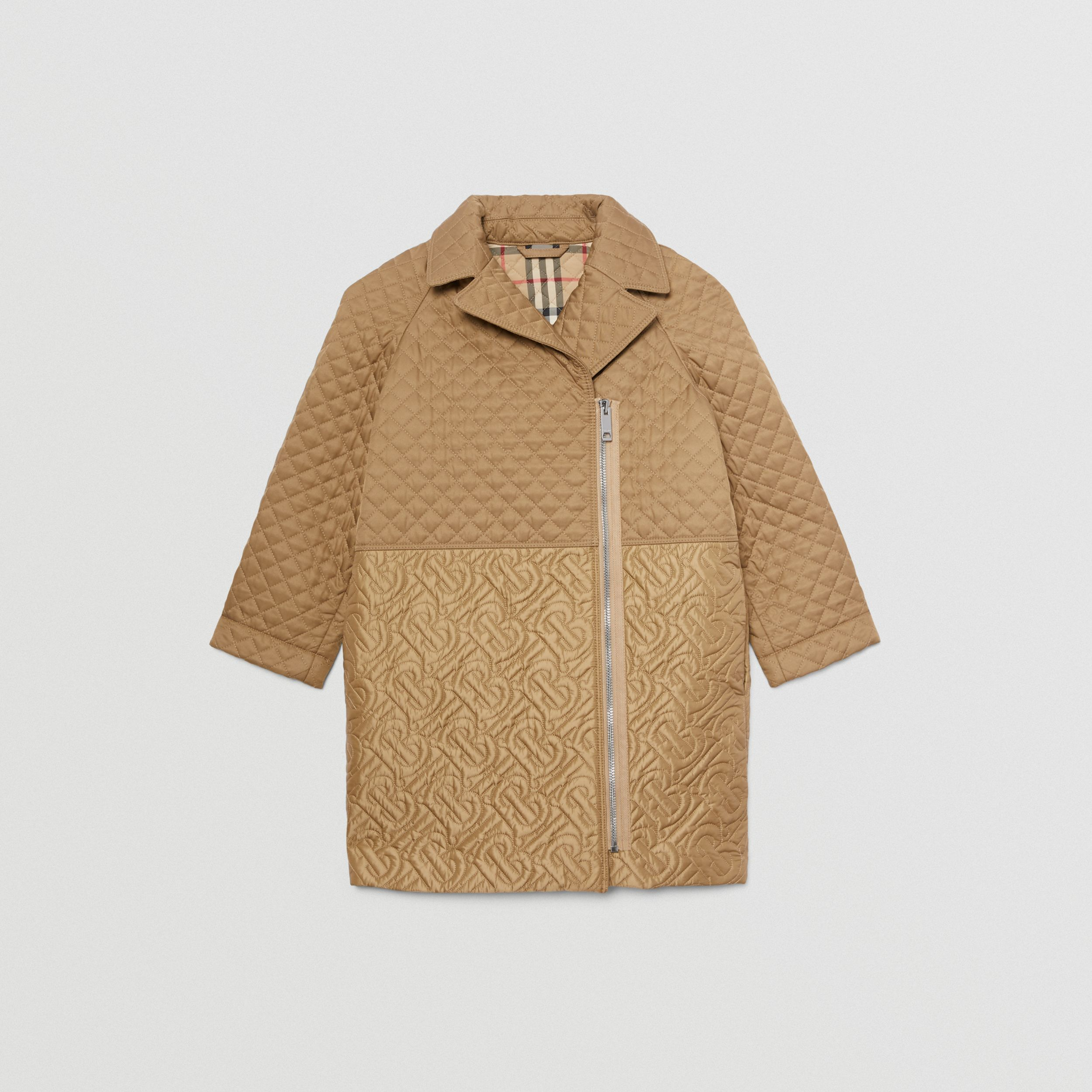 Monogram Quilted Recycled Polyester Coat in Honey | Burberry - 1