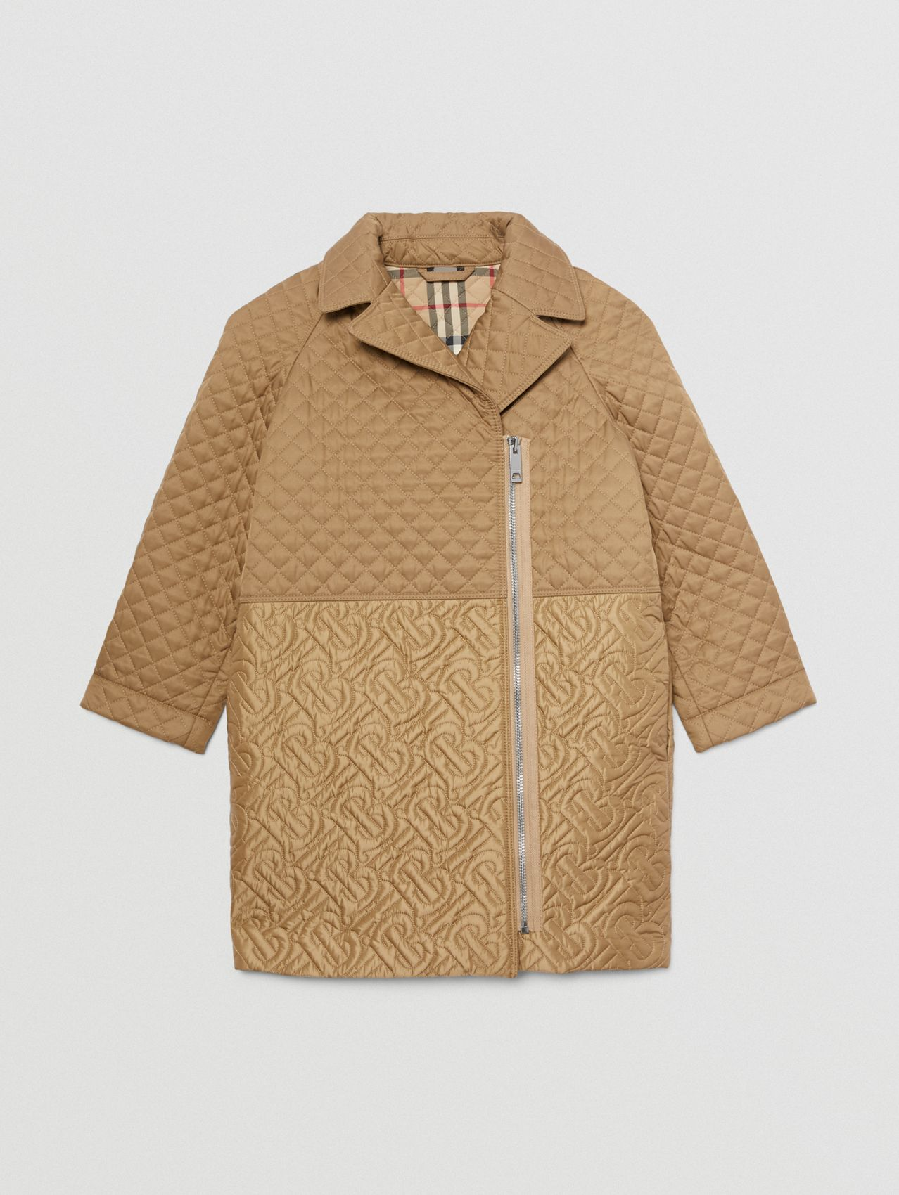 Monogram Quilted Recycled Polyester Coat in Honey