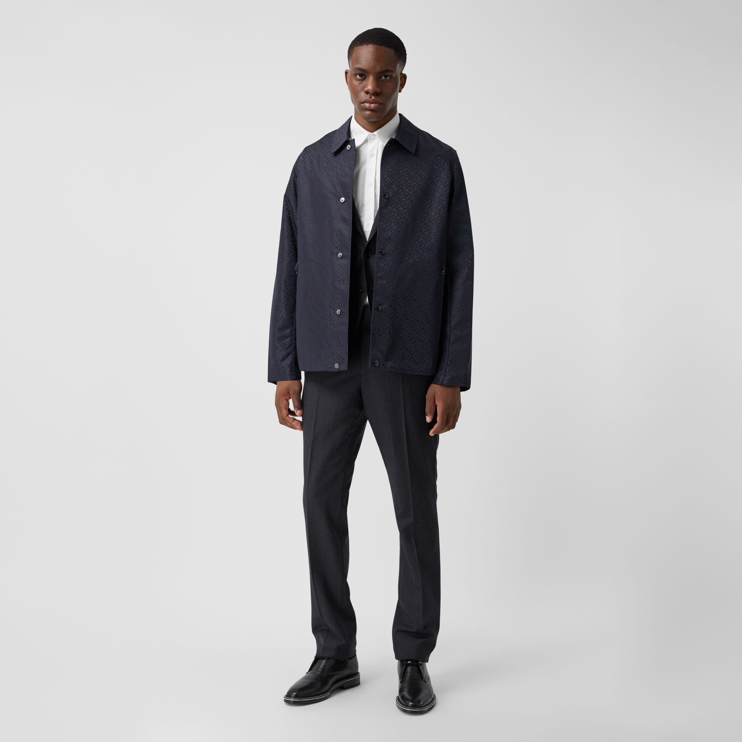 Monogram ECONYL® Jacket in Navy - Men | Burberry Canada - 1