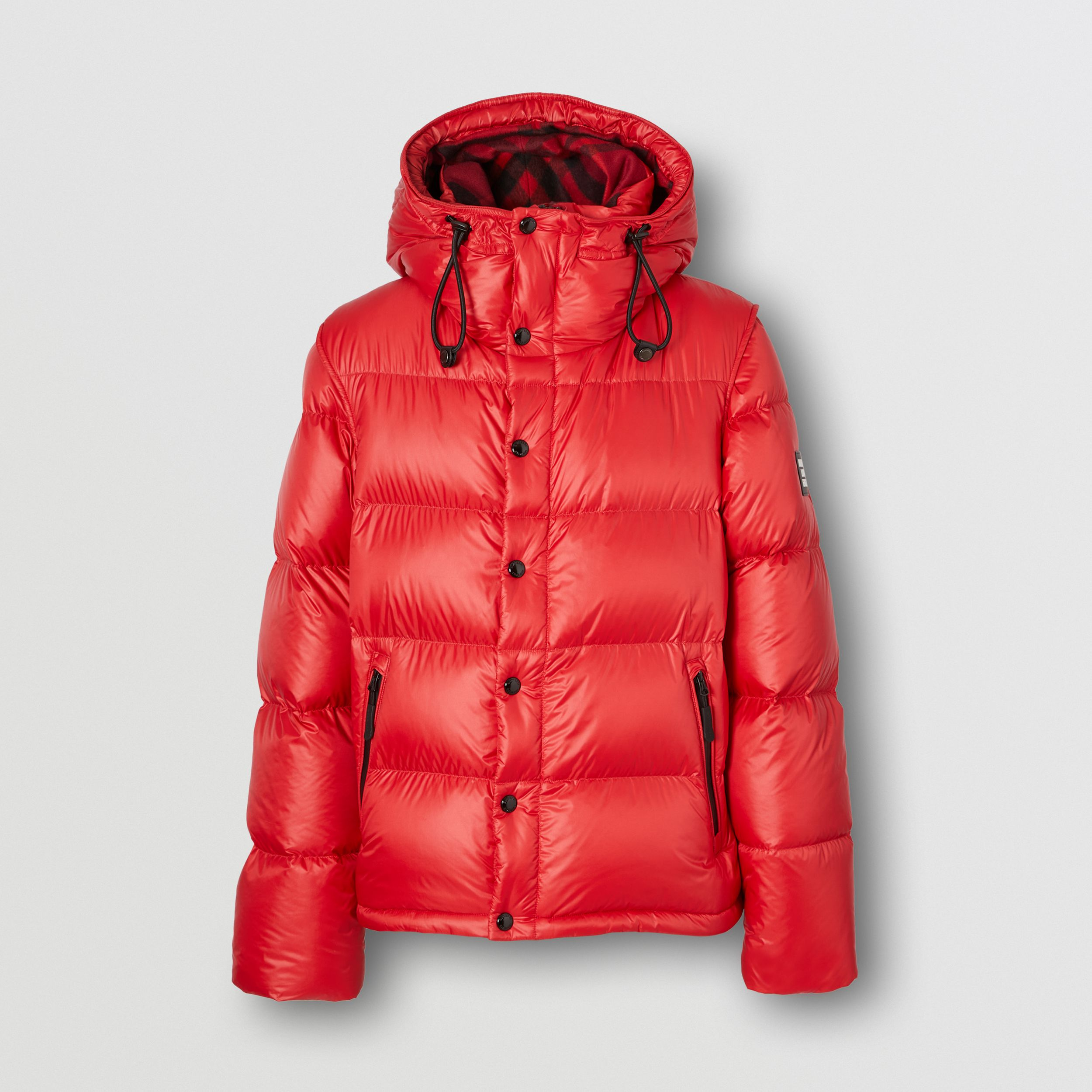Detachable Sleeve Hooded Puffer Jacket in Bright Red - Men | Burberry Australia - 4