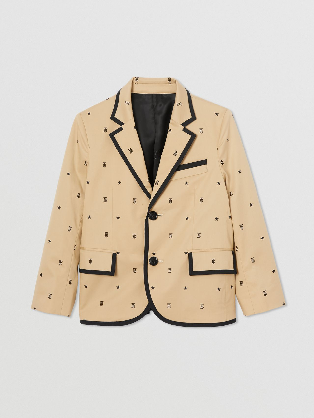Star and Monogram Motif Stretch Cotton Blazer in Sand