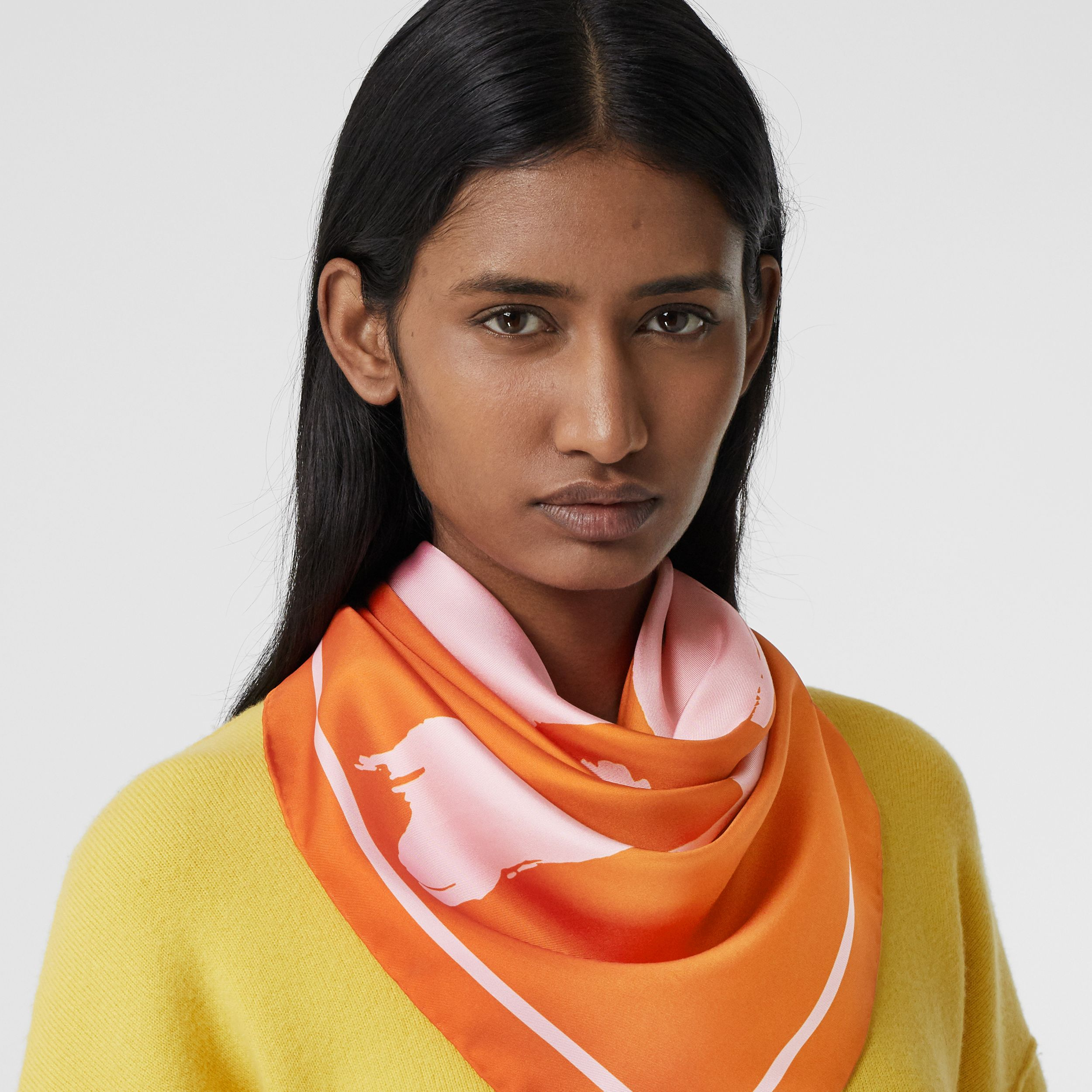 Love Print Silk Square Scarf in Orange/yellow | Burberry - 3