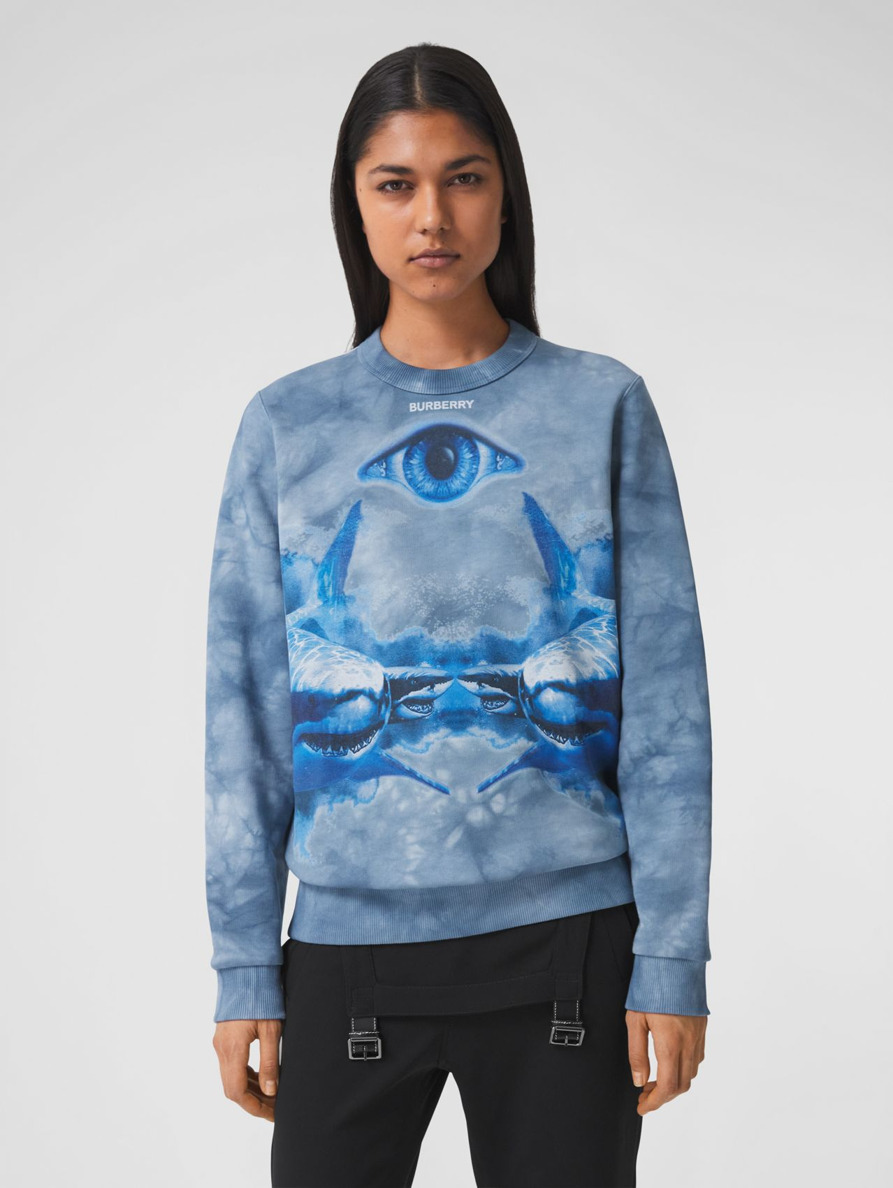 Shark Print Cotton Oversized Sweatshirt in Ink Blue