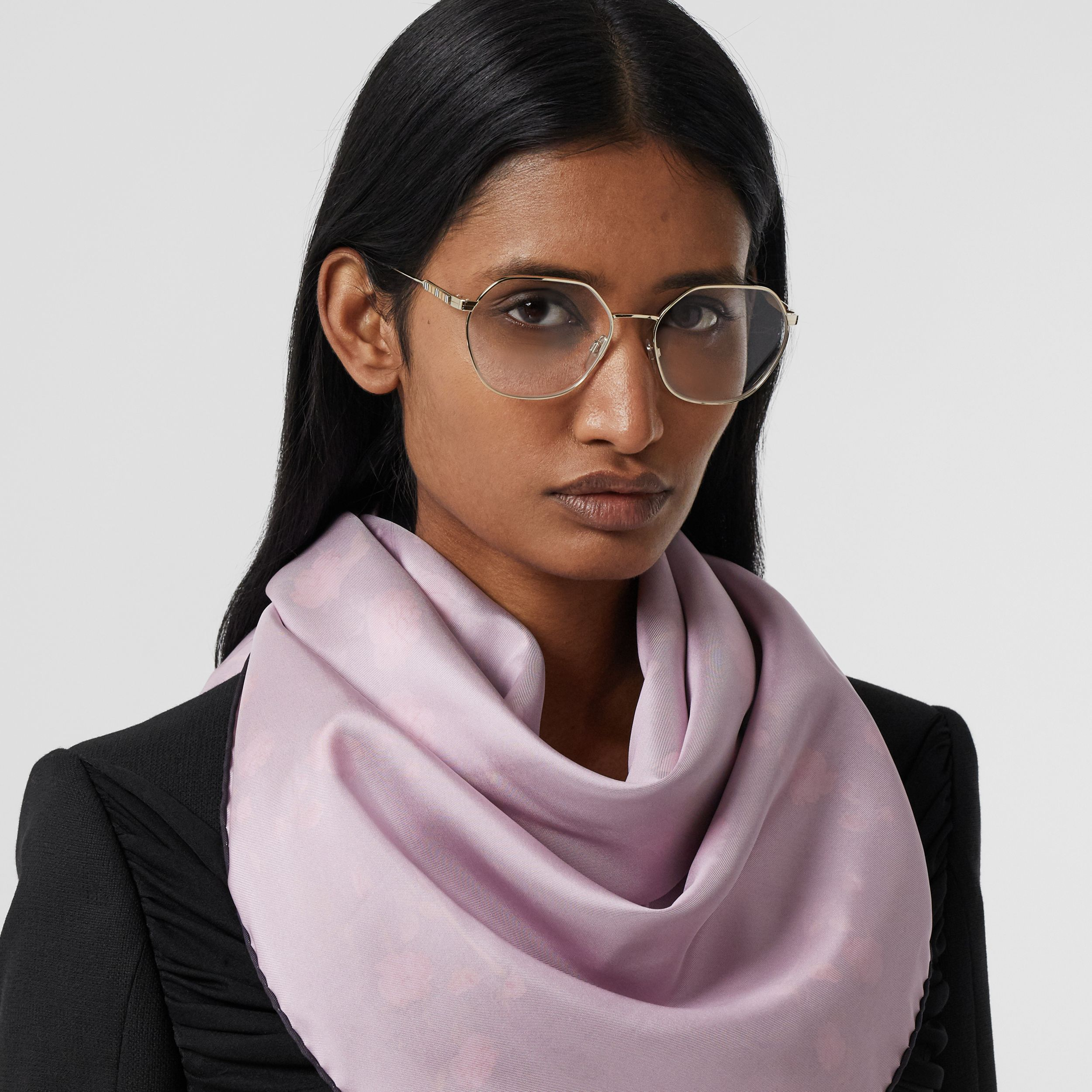 Rose Print Silk Square Scarf in Black | Burberry United States - 3