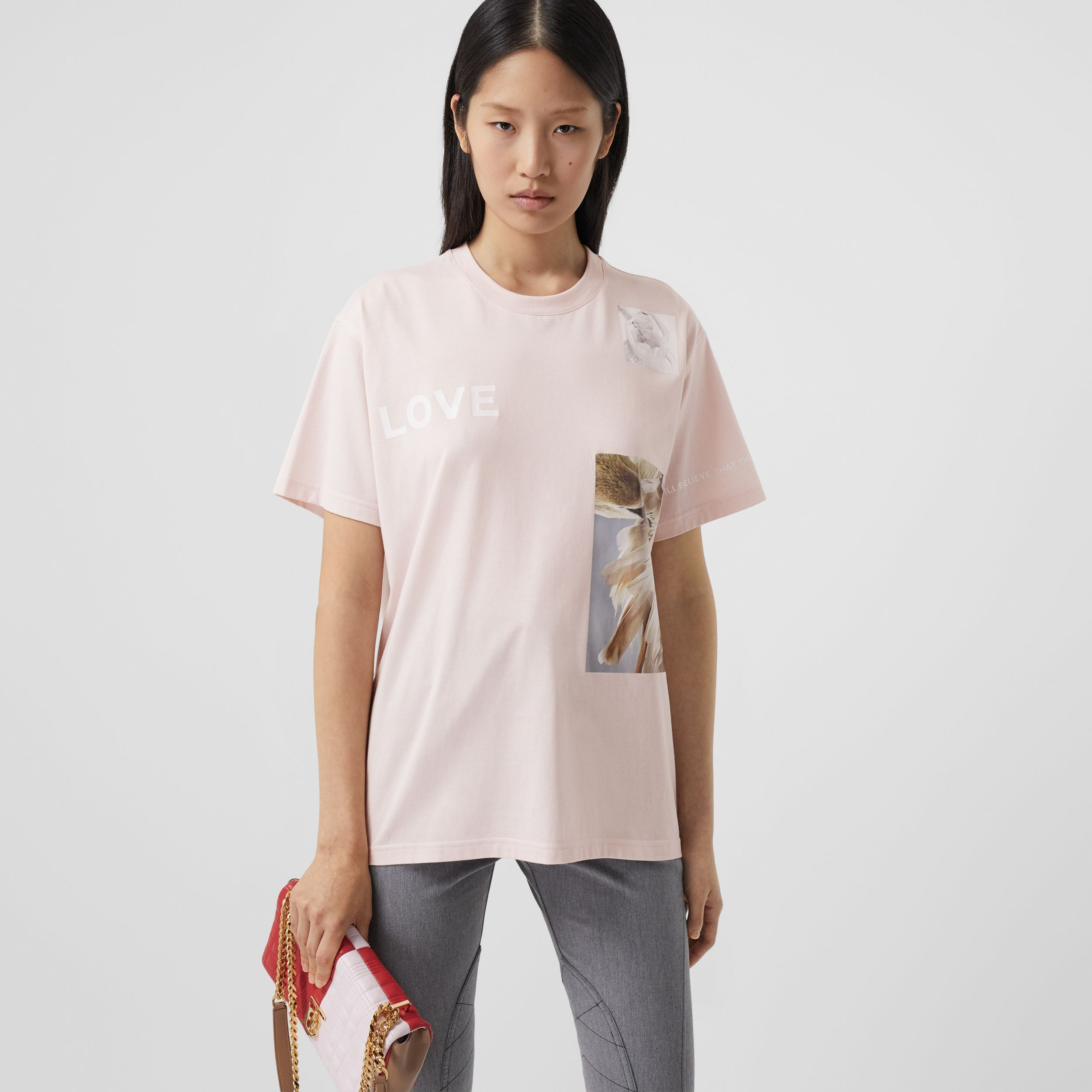 Montage Print Cotton Oversized T-shirt - Women | Burberry - 1