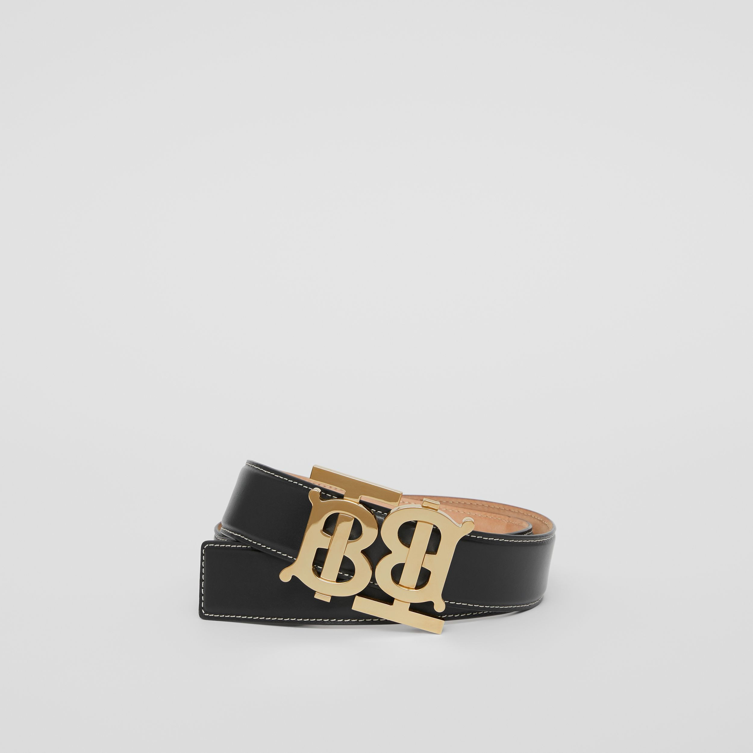Double Monogram Motif Leather Belt in Black - Women | Burberry - 1