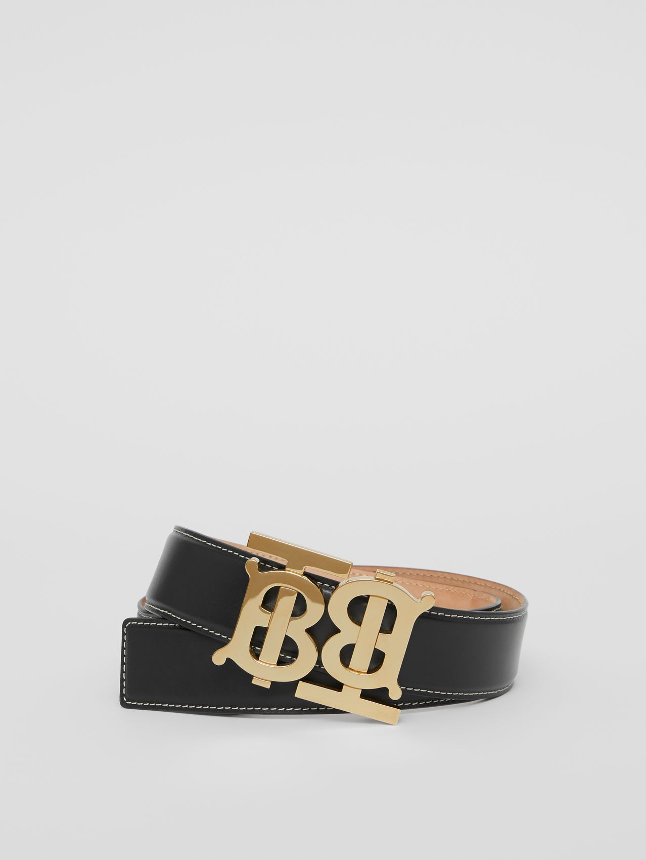 Double Monogram Motif Leather Belt in Black