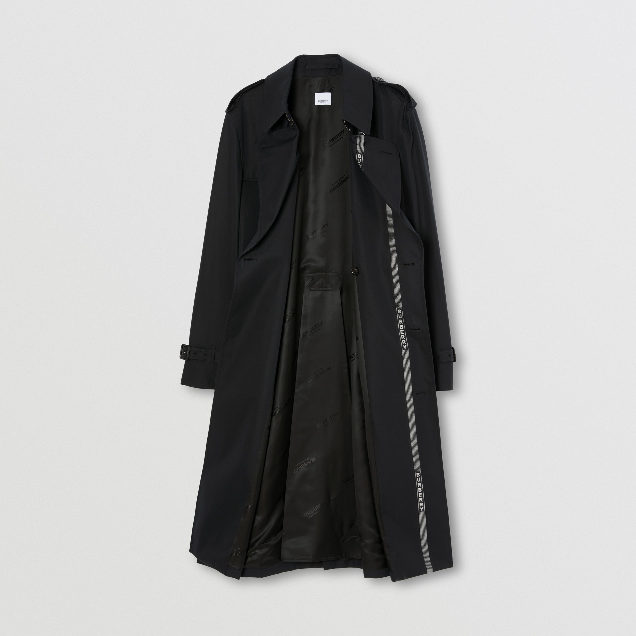 Logo Detail Cotton Gabardine Trench Coat in Black - Men | Burberry - 4