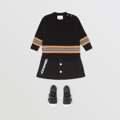 Icon Stripe Panel Merino Wool Sweater Children   Burberry