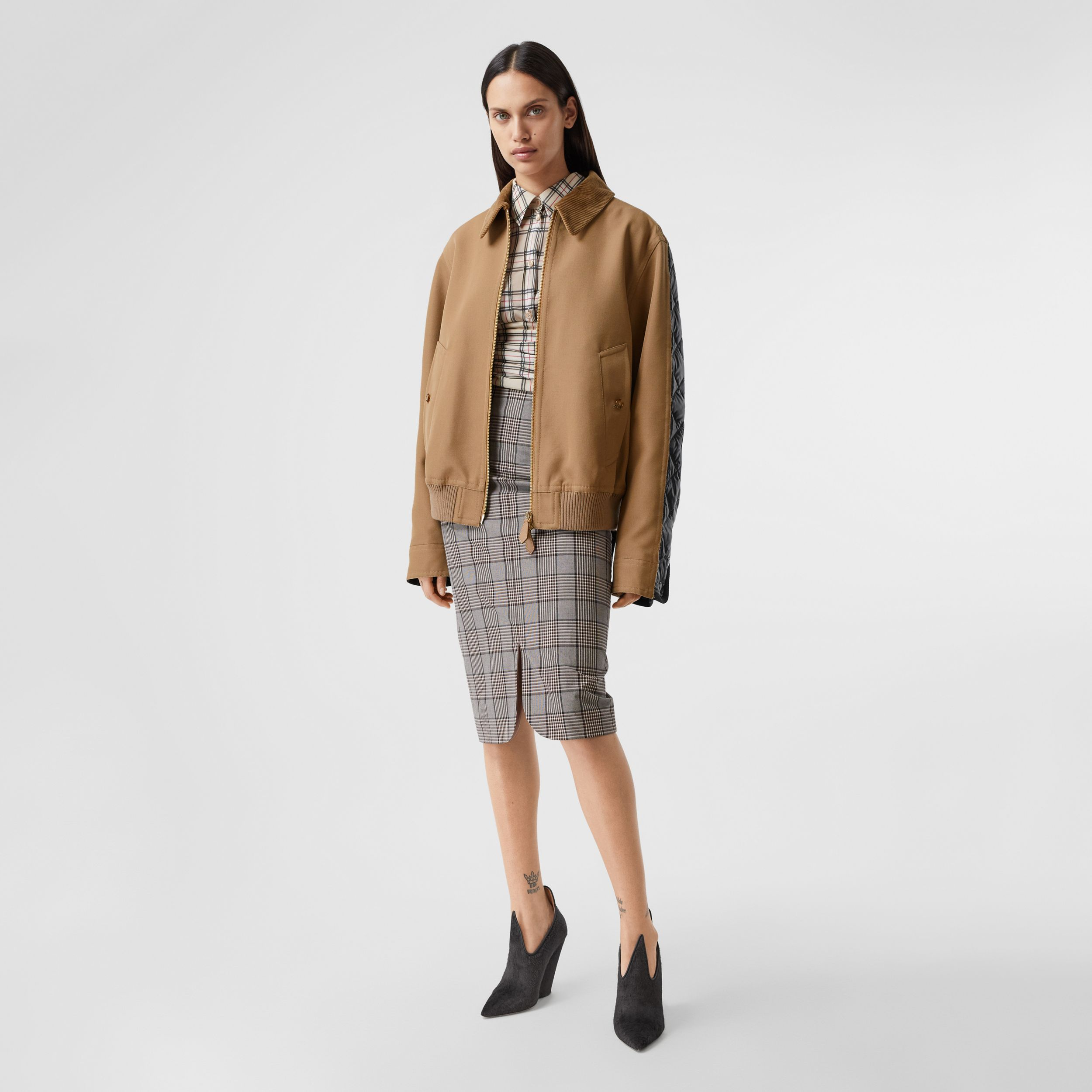 Technical Wool Reconstructed Harrington Jacket in Biscuit - Women | Burberry - 1