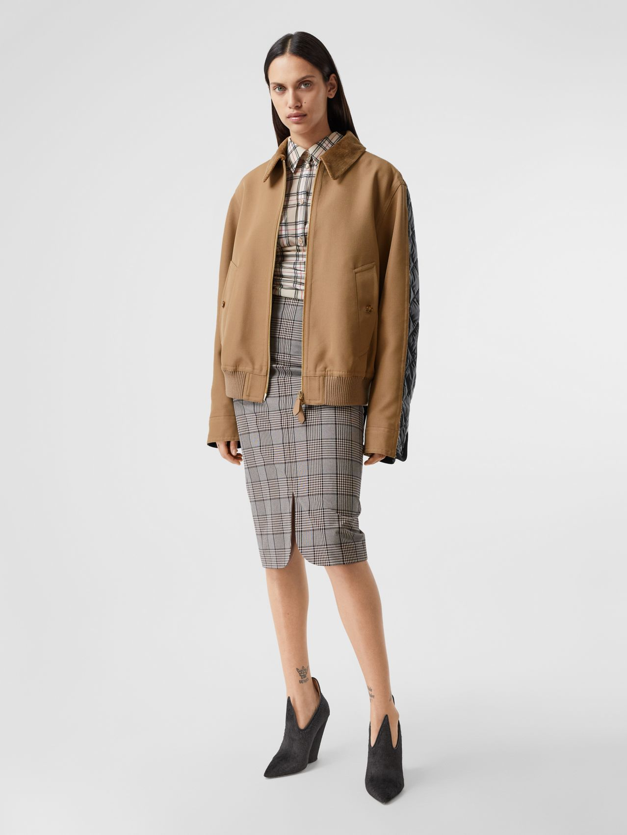Technical Wool Reconstructed Harrington Jacket in Biscuit