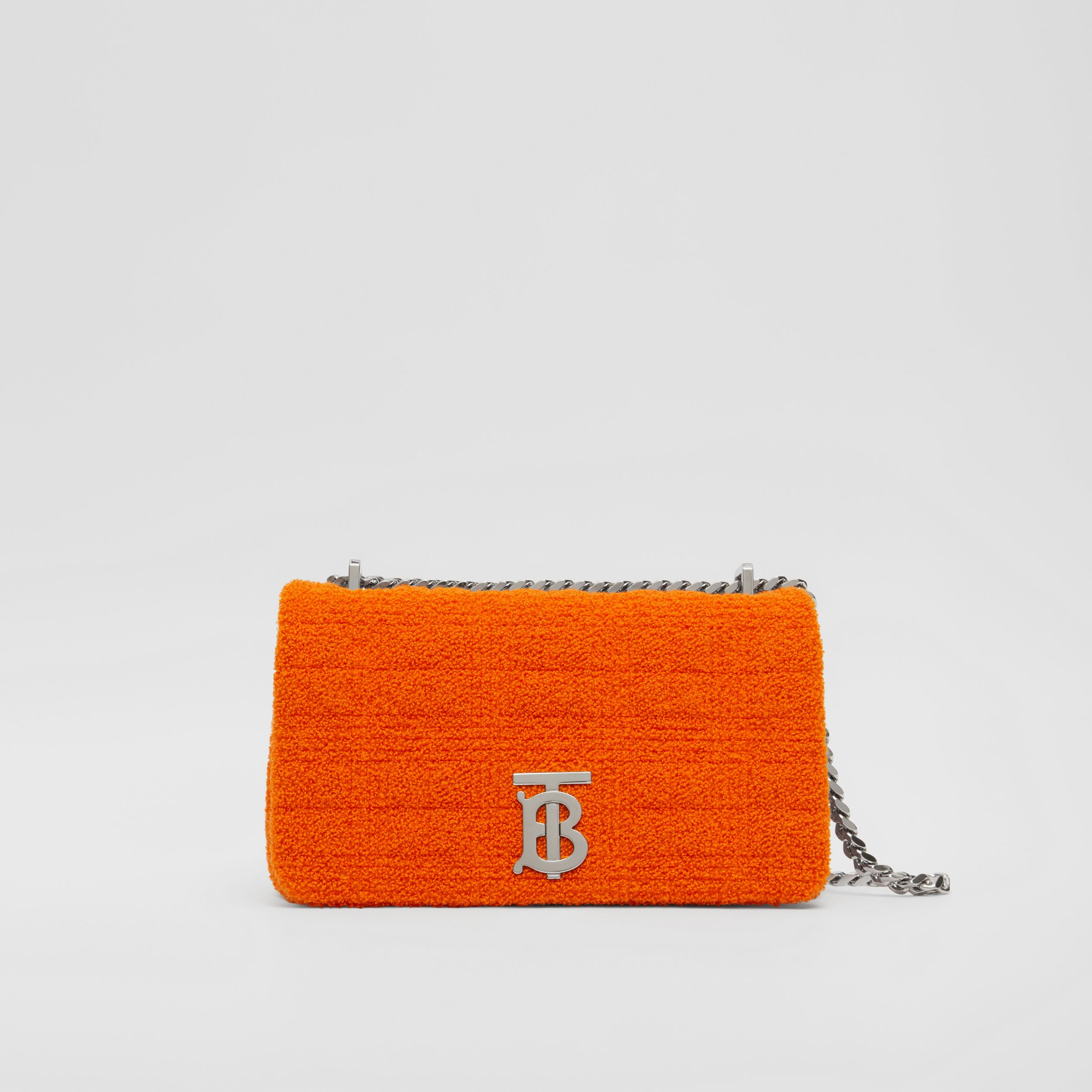 Small Quilted Towelling Lola Bag in Bright Orange | Burberry - 1